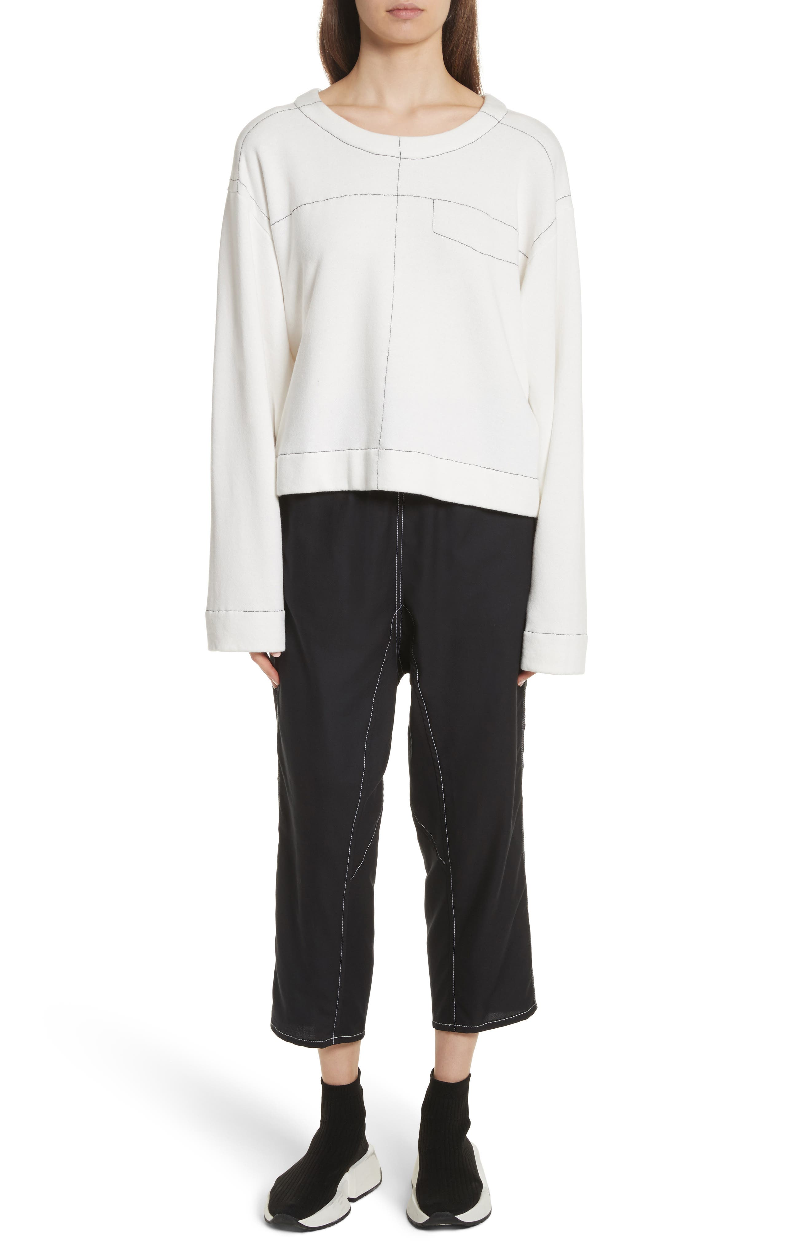 Topstitch Sweater,                             Alternate thumbnail 7, color,                             Off White