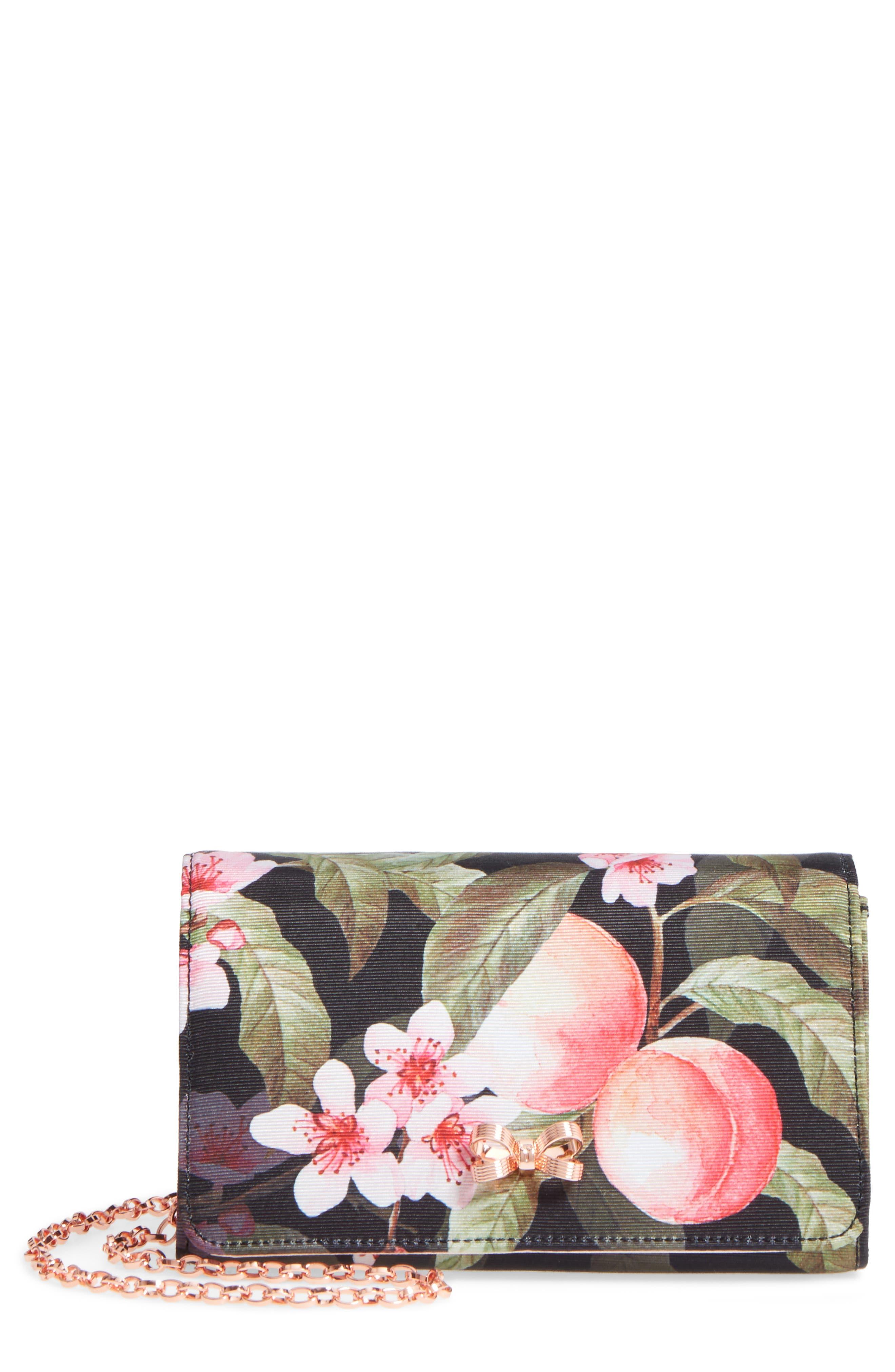 Pauleen Peach Blossom Crossbody Bag,                             Main thumbnail 1, color,                             Black