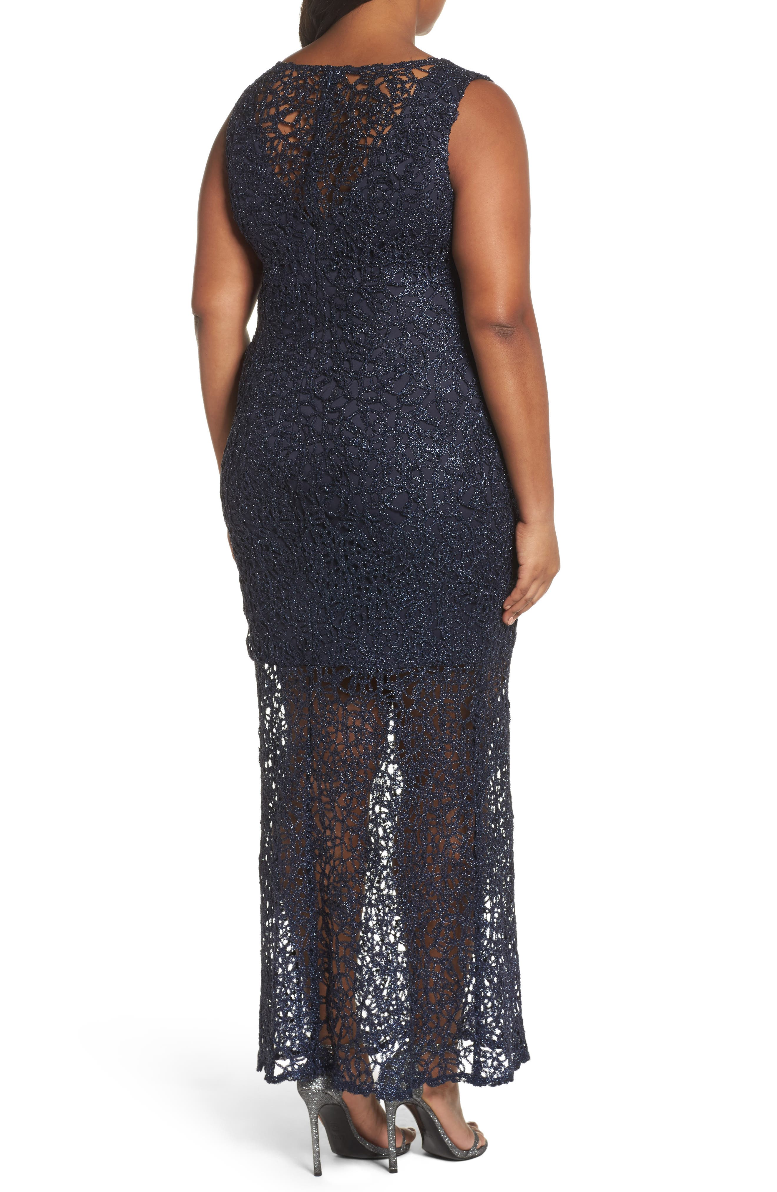 Illusion Lace Gown,                             Alternate thumbnail 2, color,                             Navy