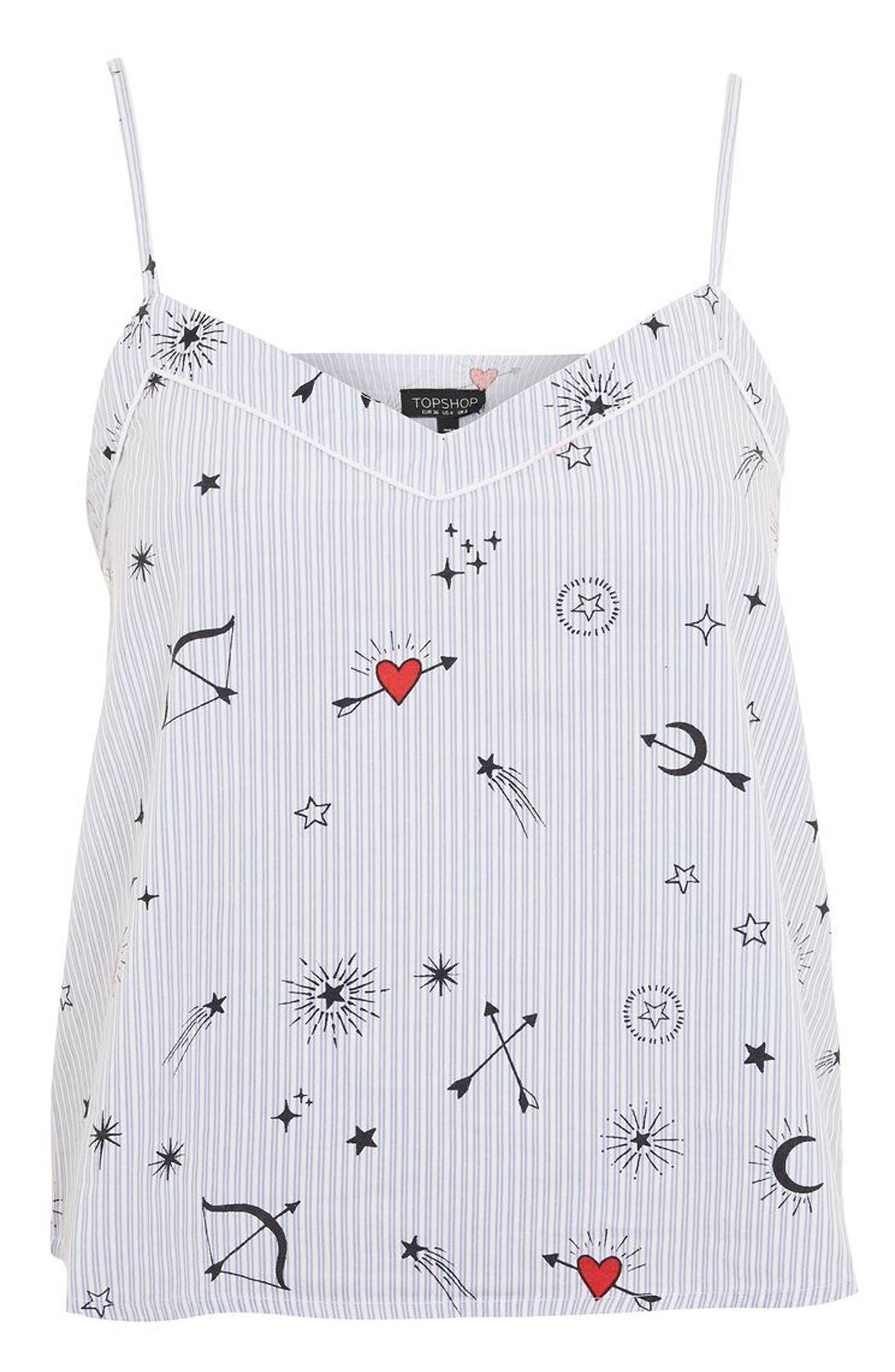 Alternate Image 3  - Topshop Heart Print Stripe Camisole Top
