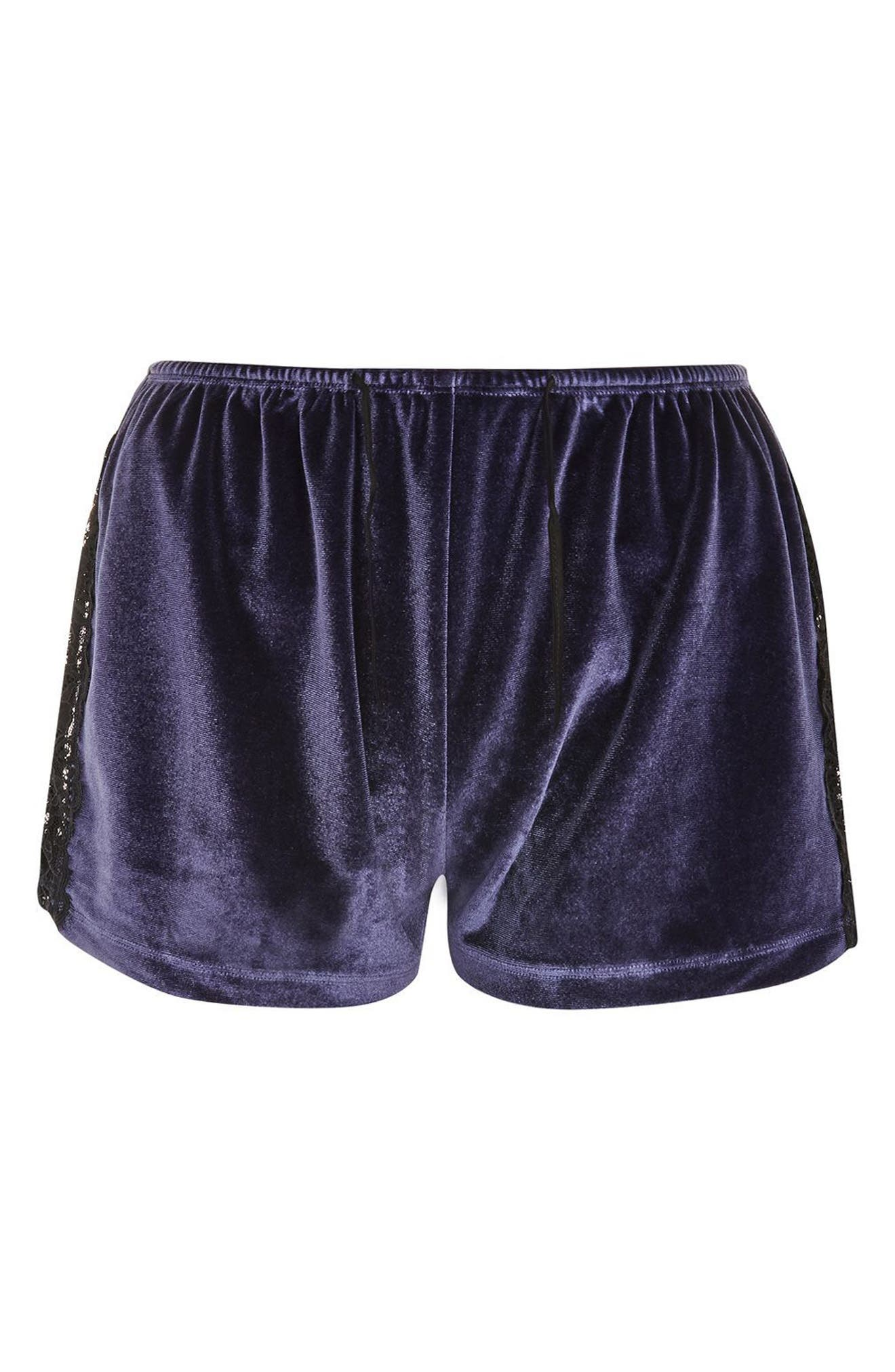Nocturne Lace and Velvet Pajama Shorts,                             Alternate thumbnail 3, color,                             Navy Blue