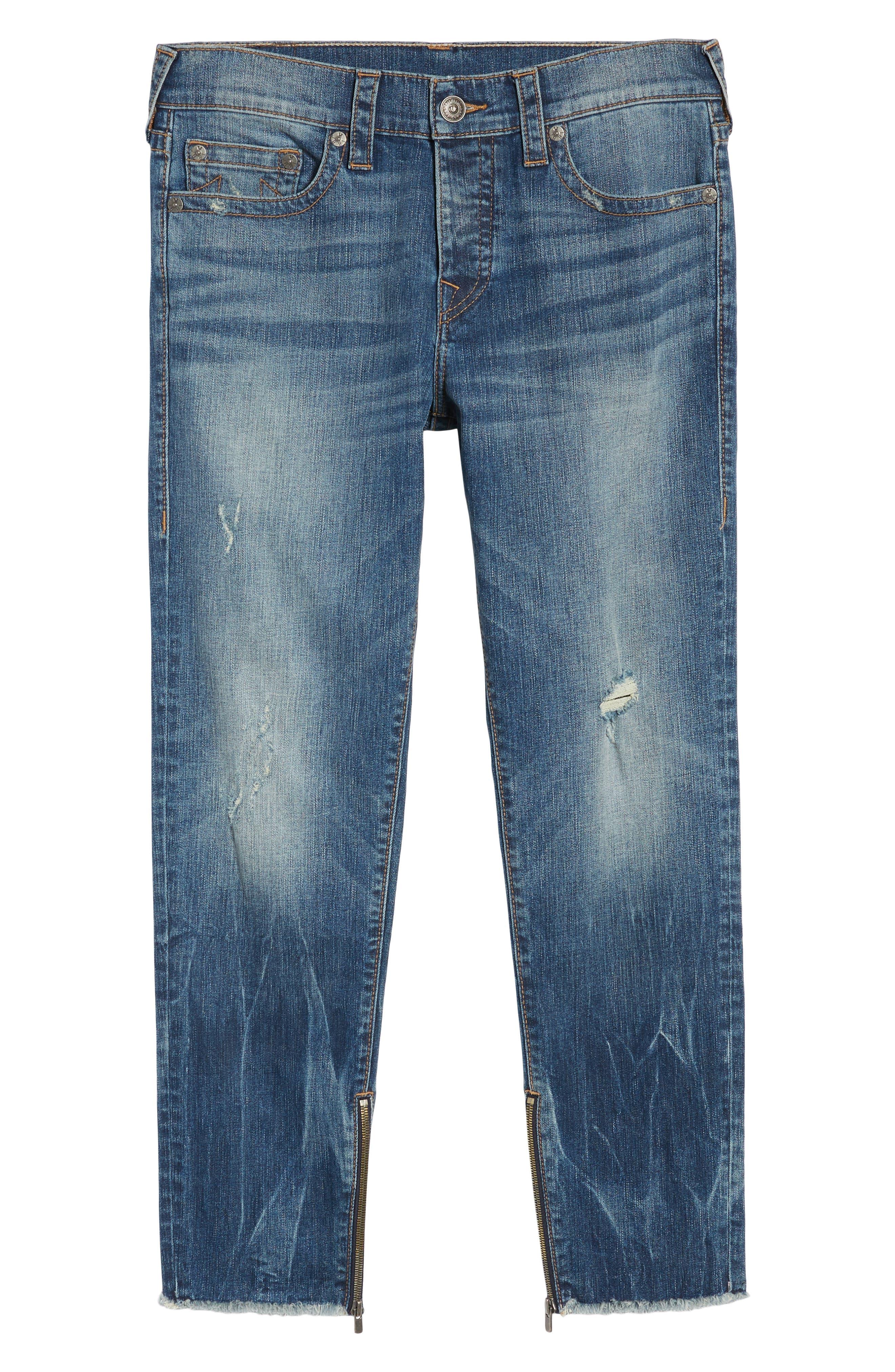 Finn Frayed Skinny Fit Jeans,                             Alternate thumbnail 6, color,                             Envy
