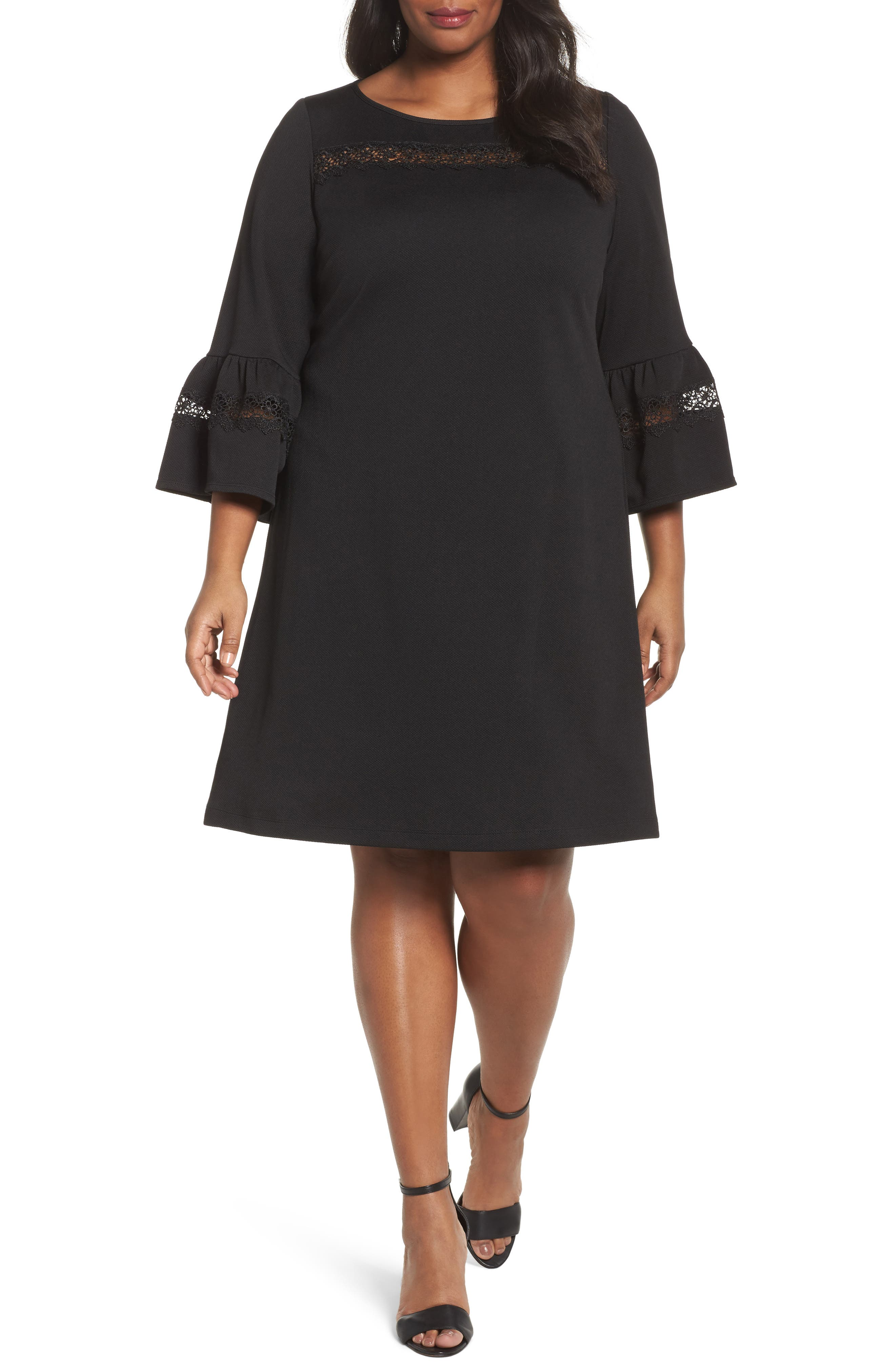 Bell Sleeve Dress,                         Main,                         color, Black