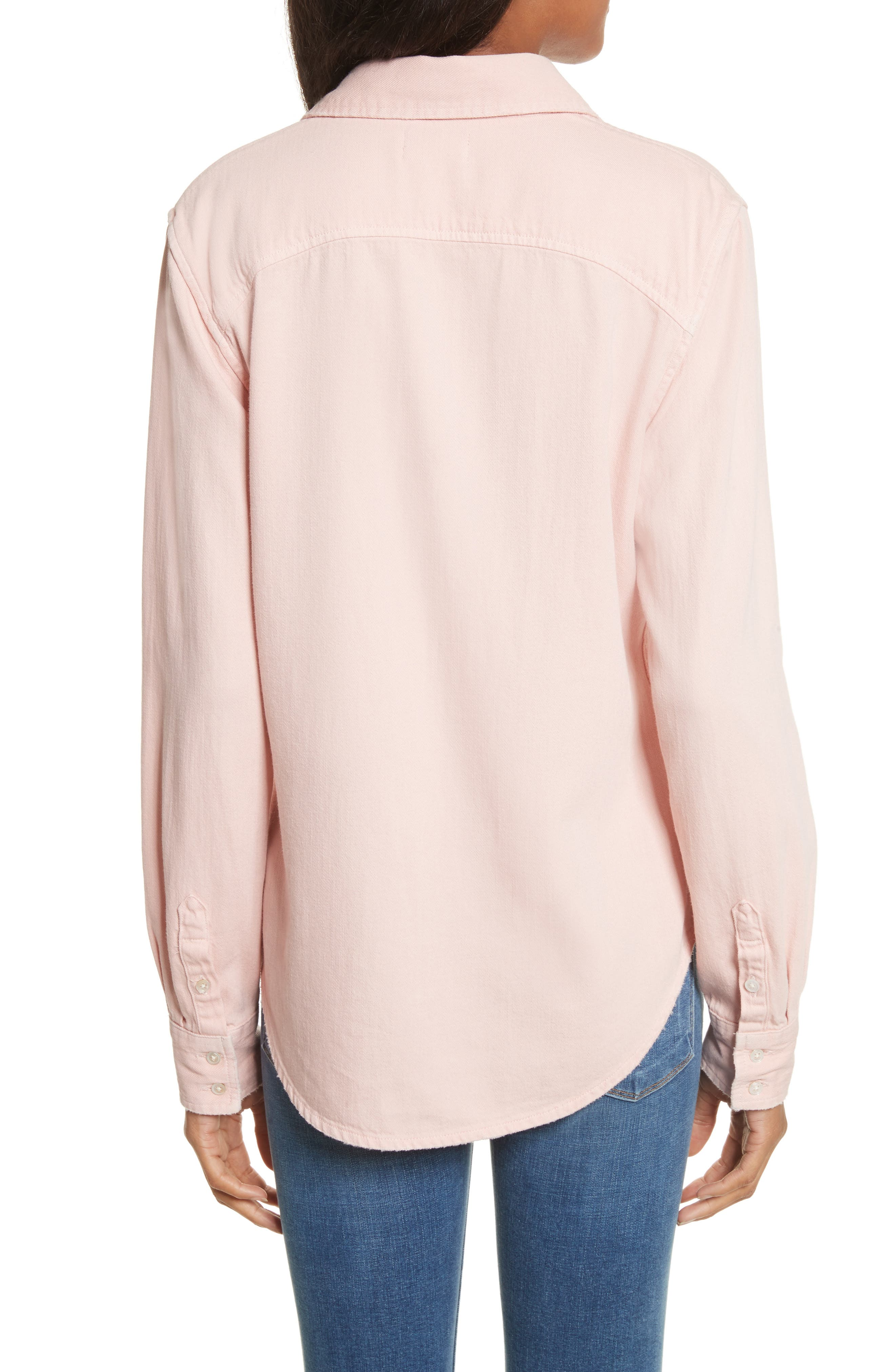 Denim Military Shirt,                             Alternate thumbnail 2, color,                             Faded Light Pink Exclusive