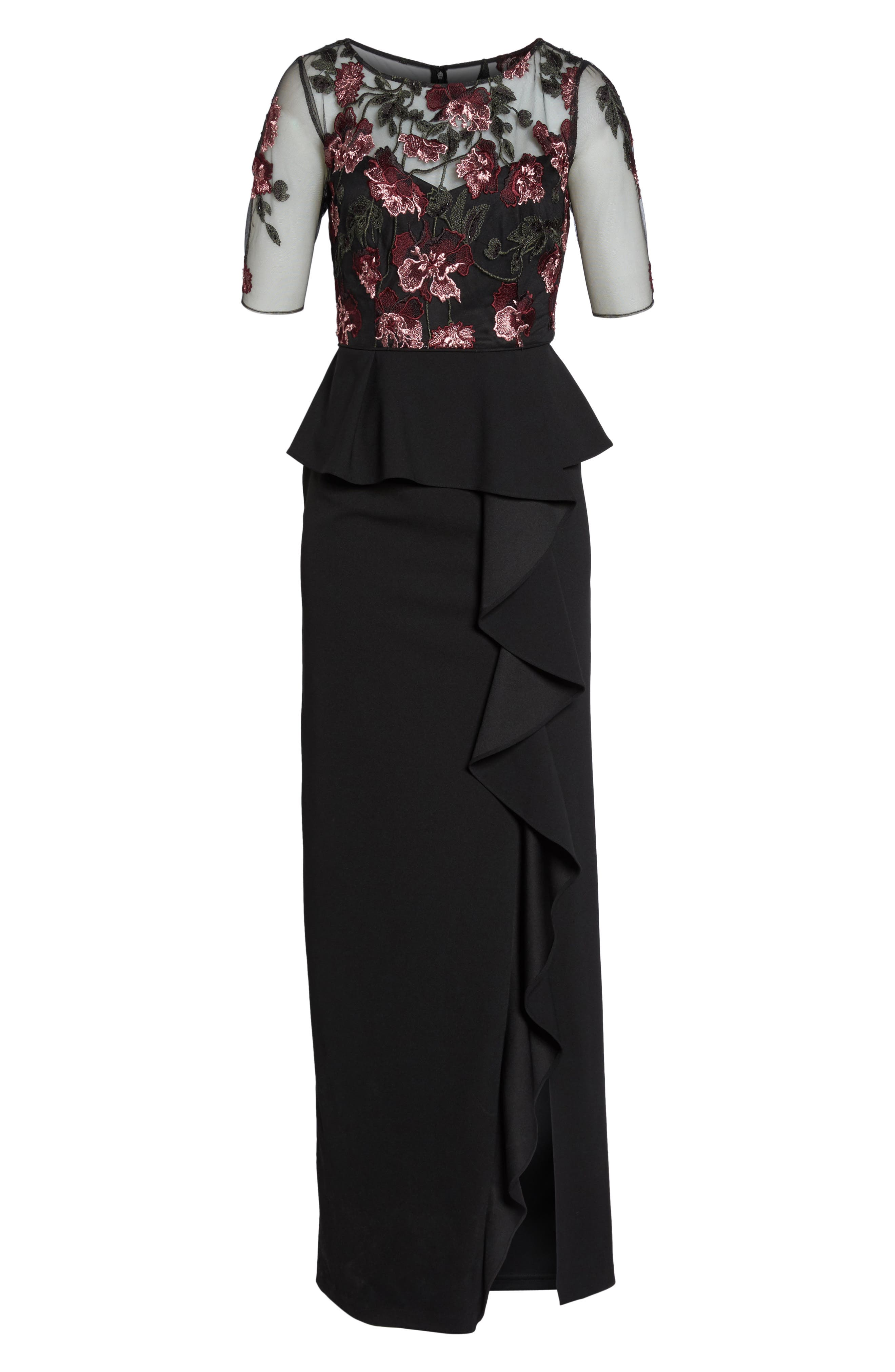 Embroidered Ruffle Gown,                             Alternate thumbnail 6, color,                             Cabernet Multi