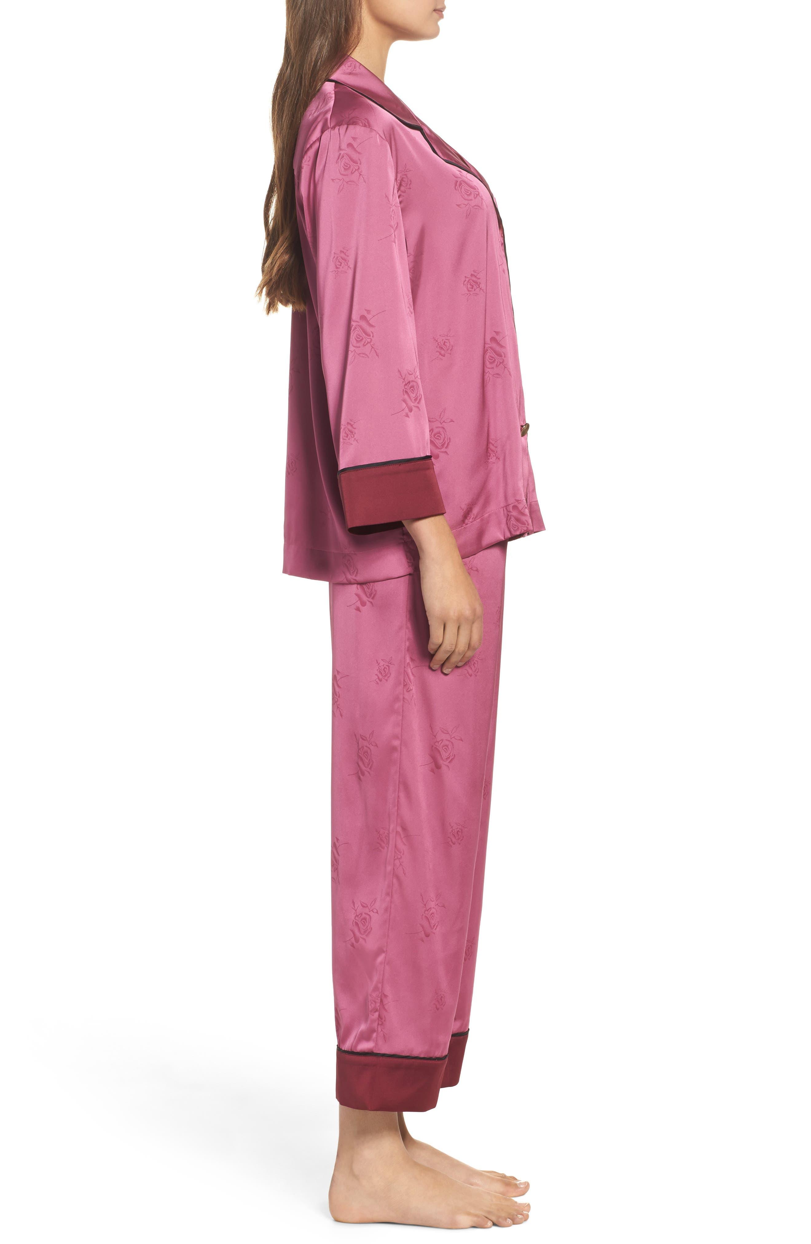 Crop Pajamas,                             Alternate thumbnail 3, color,                             Raspberry