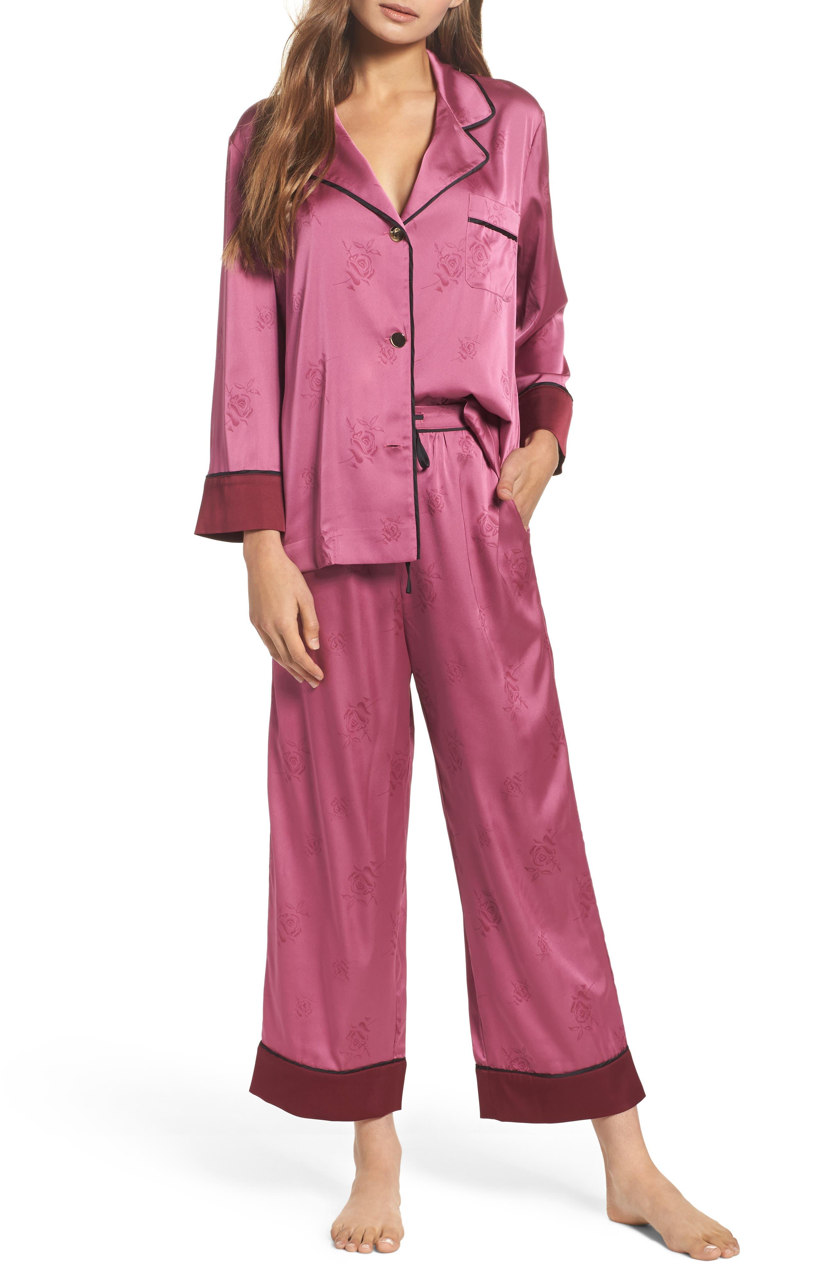 Crop Pajamas,                         Main,                         color, Raspberry