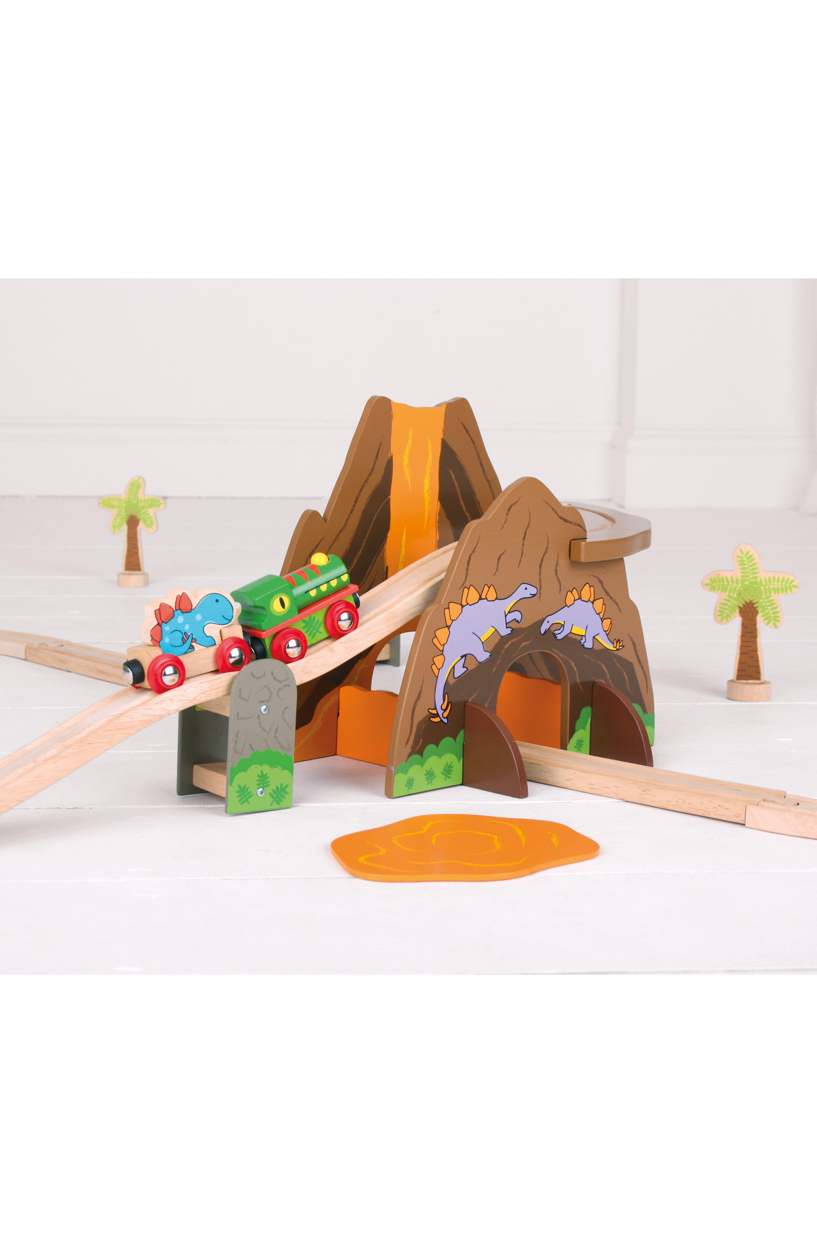 49-Piece Dinosaur Wooden Train Set,                             Alternate thumbnail 4, color,                             Brown