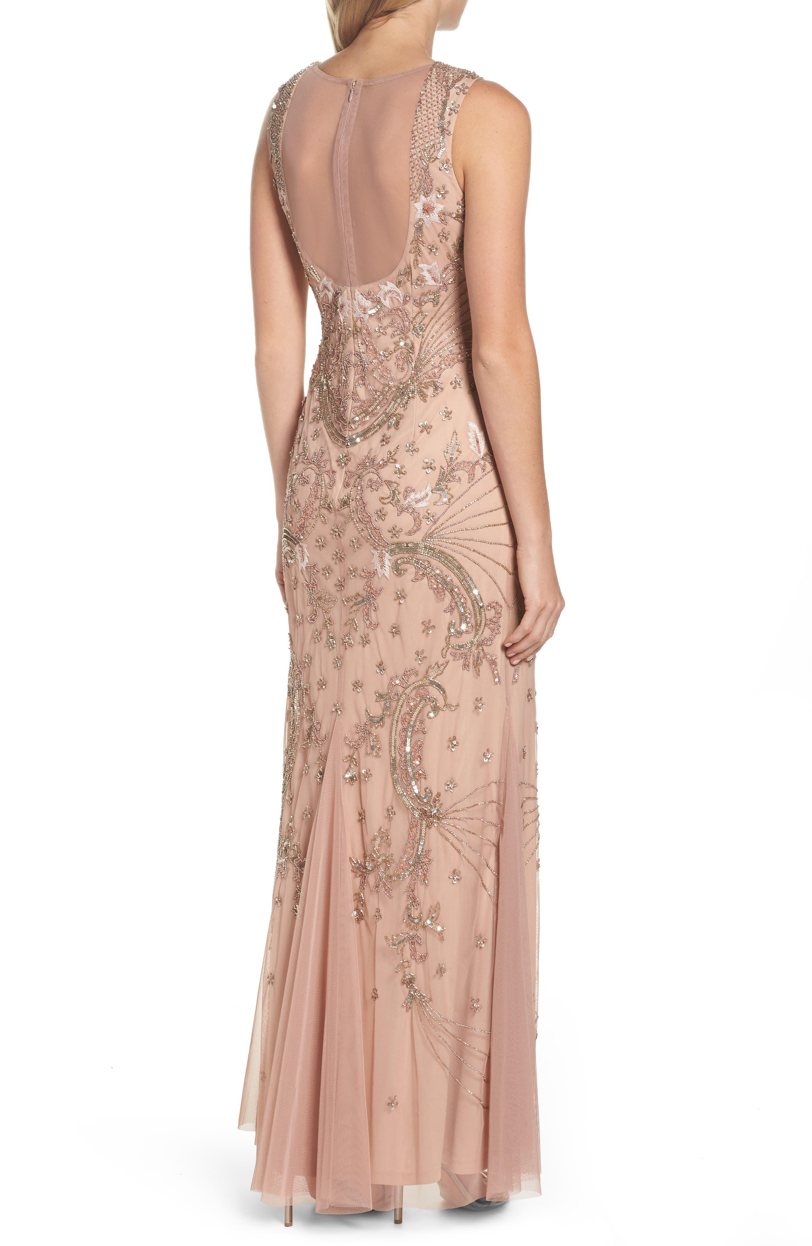 Beaded Mesh Dress,                             Alternate thumbnail 2, color,                             Rose Gold