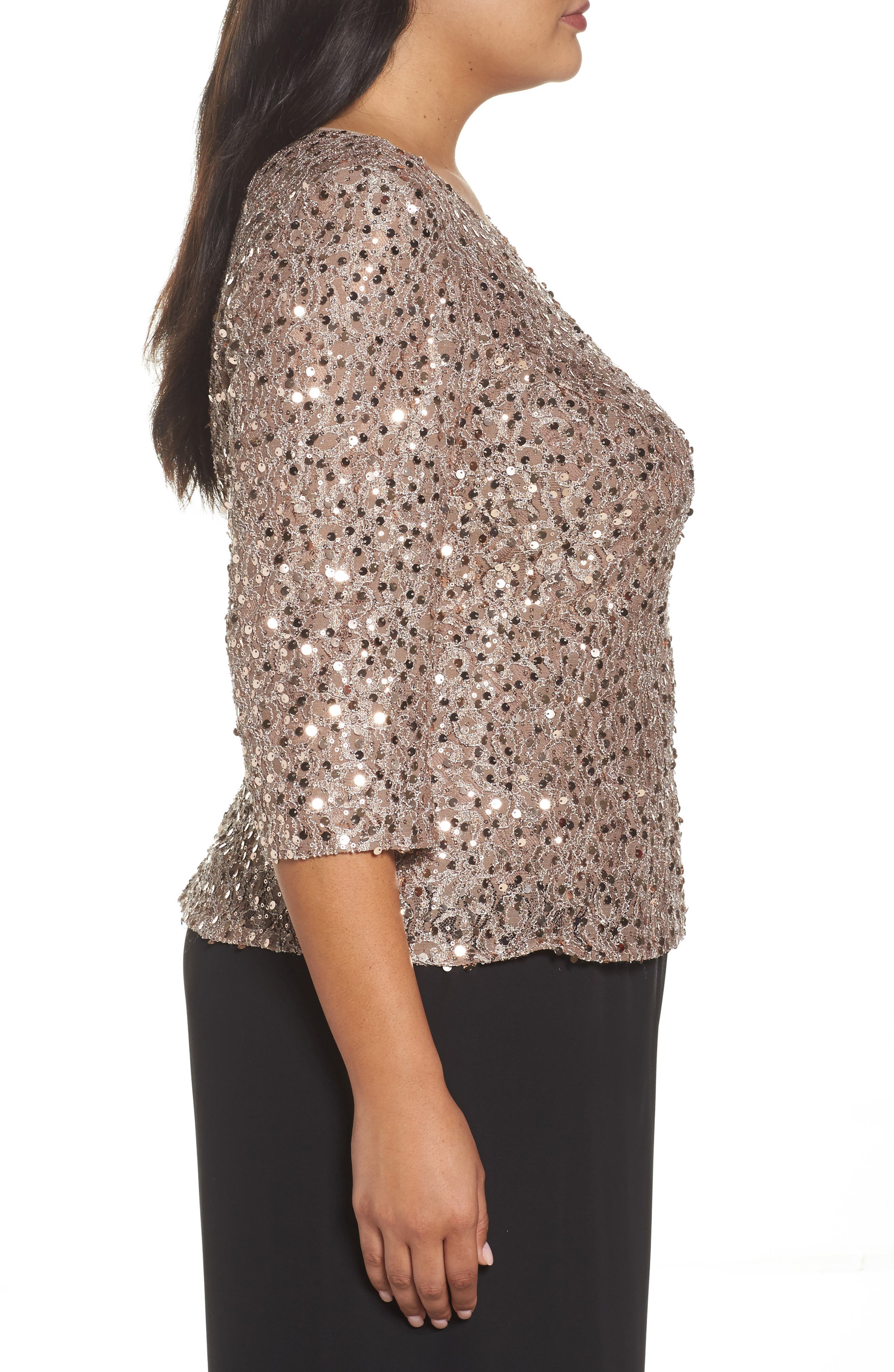 Alternate Image 3  - Alex Evenings Sequin Top (Plus Size)