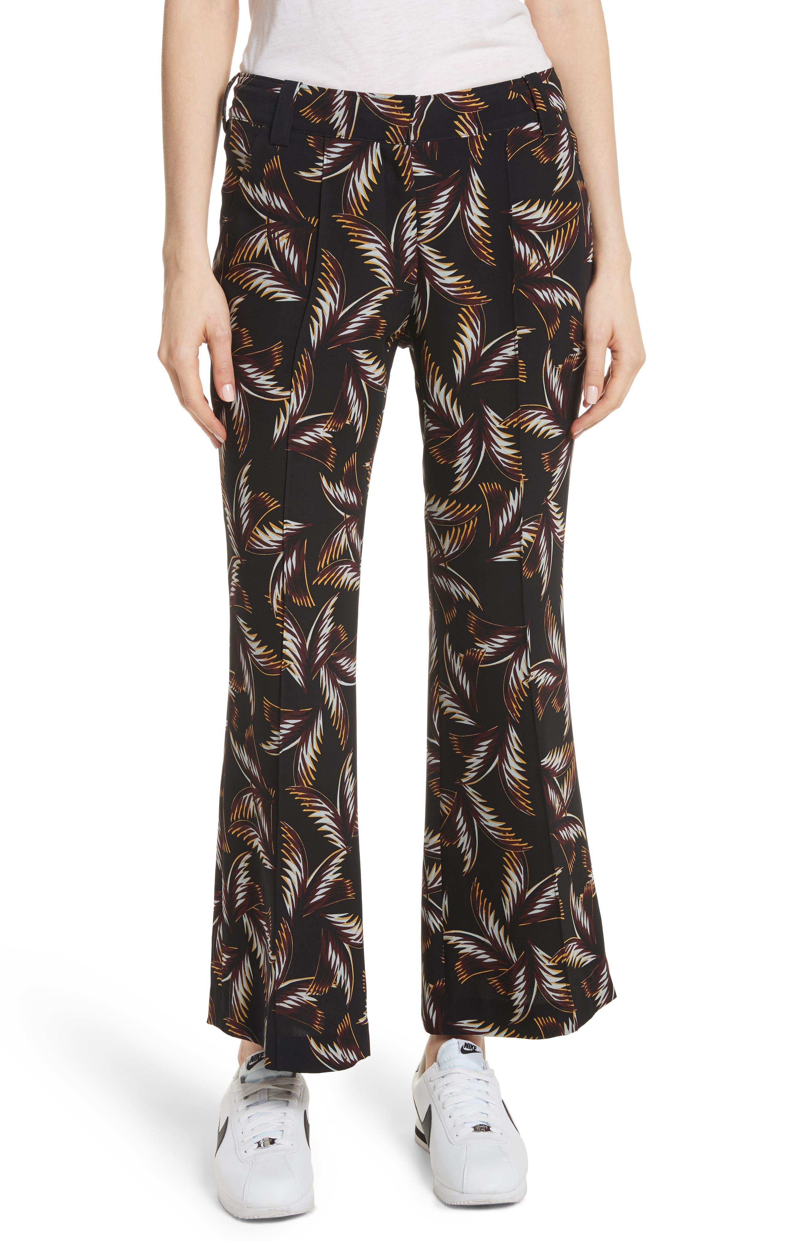 Felix Print Silk Crop Flare Pants,                             Main thumbnail 1, color,                             Black