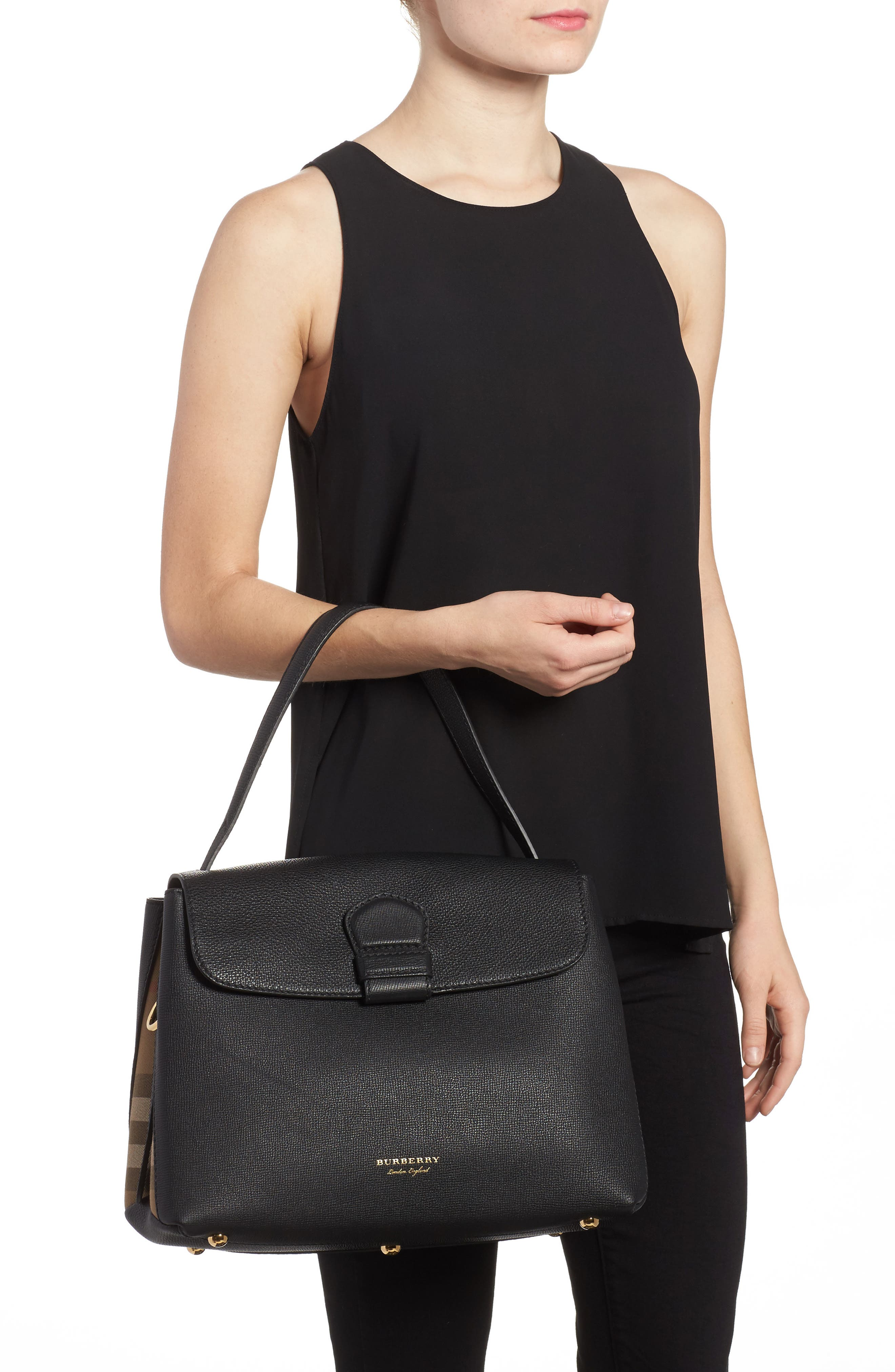 Medium Camberley Leather & House Check Top Handle Satchel,                             Alternate thumbnail 2, color,                             Black