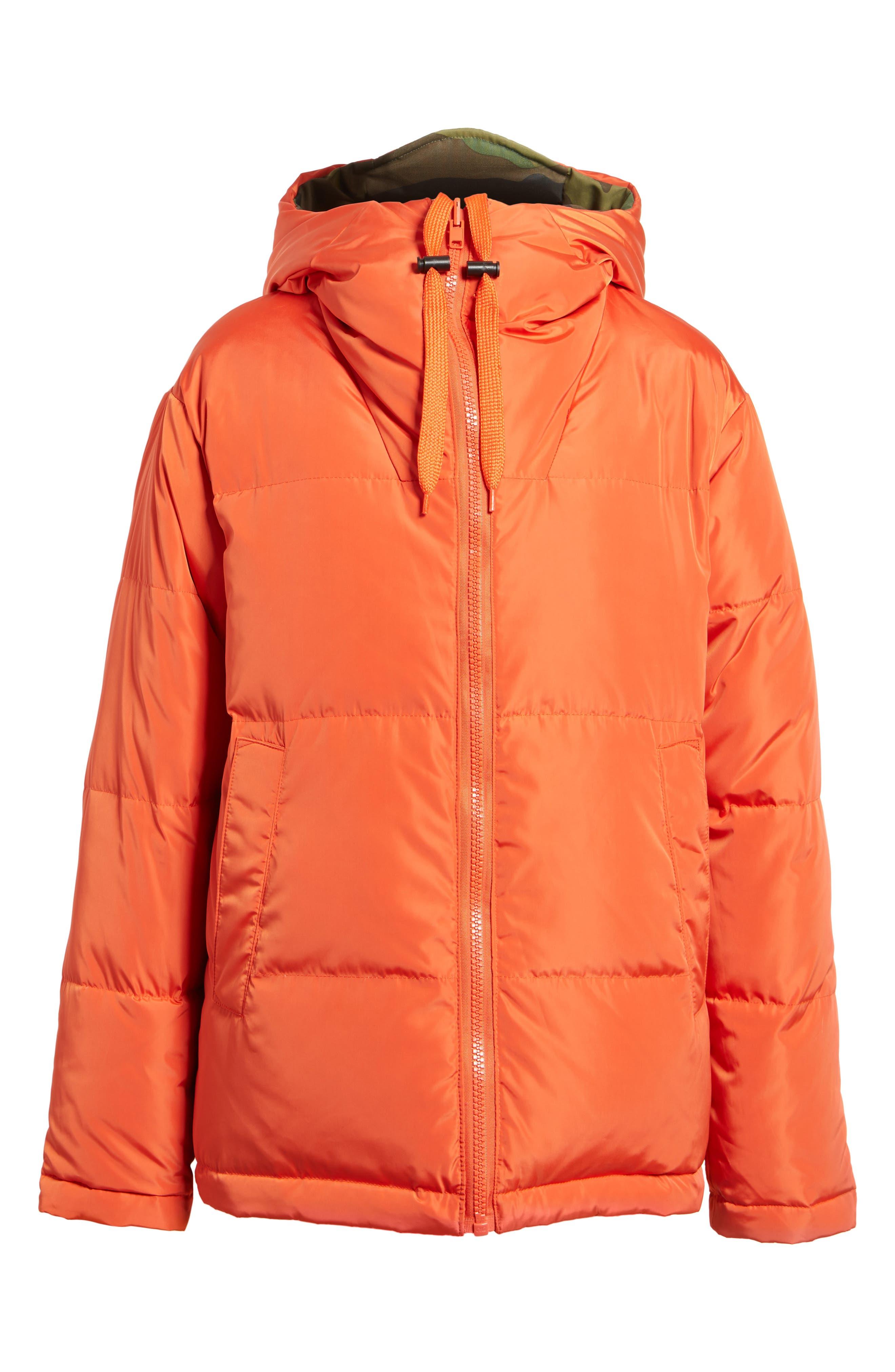 Reversible Puffer Jacket,                             Alternate thumbnail 8, color,                             Camo/ Orange