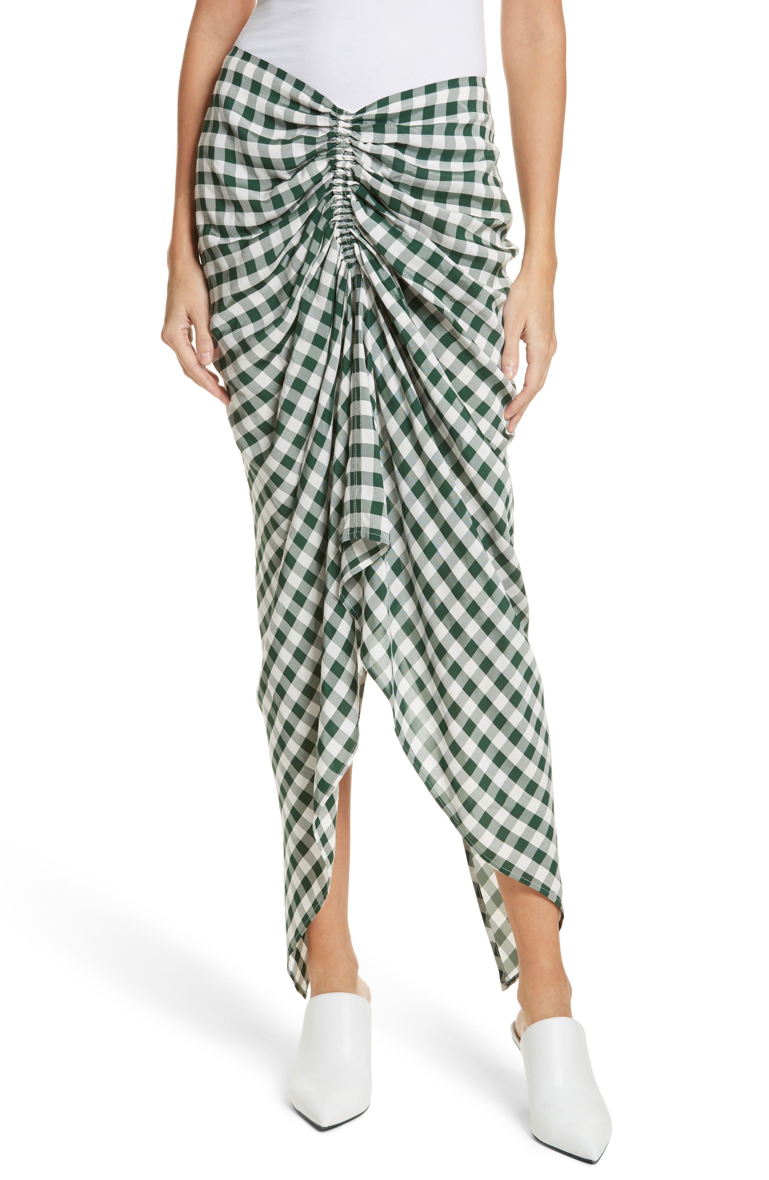 Roman Gingham Jacquard Skirt,                             Main thumbnail 1, color,                             Emerald