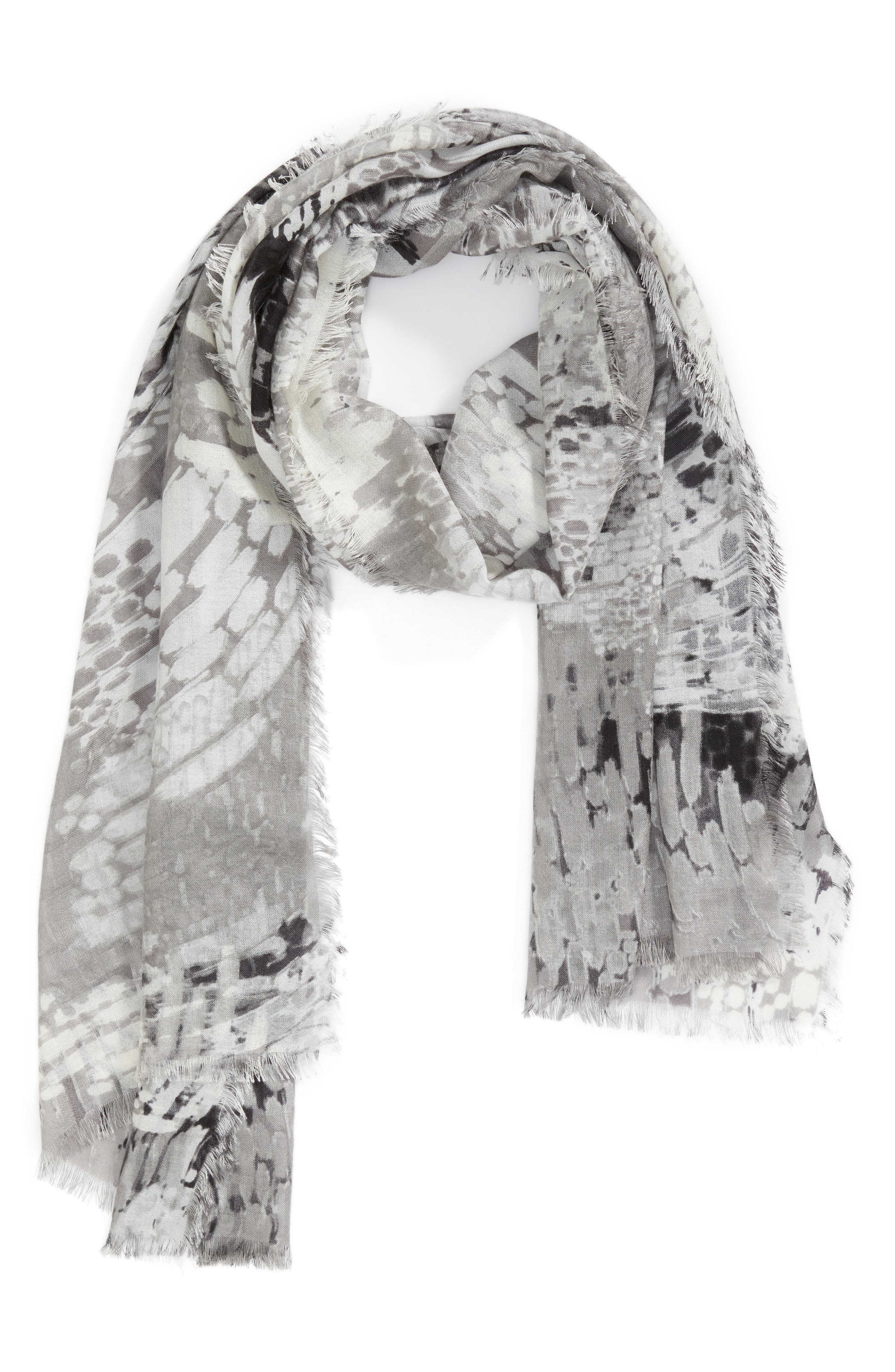 Eyelash Trim Print Cashmere & Silk Wrap,                             Alternate thumbnail 2, color,                             Grey Linear Abstraction