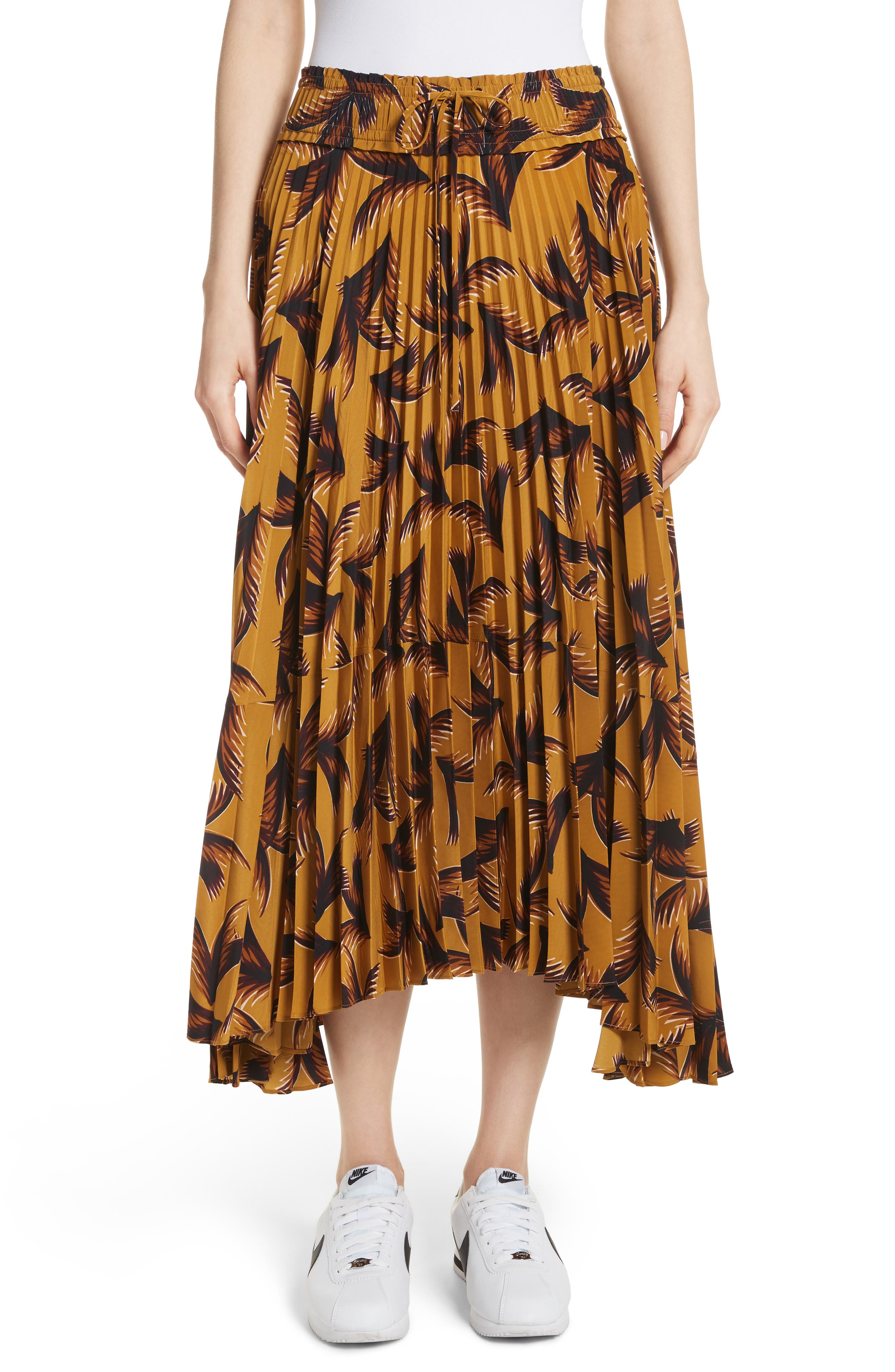 Maya Pleated A-Line Skirt,                             Main thumbnail 1, color,                             Gold