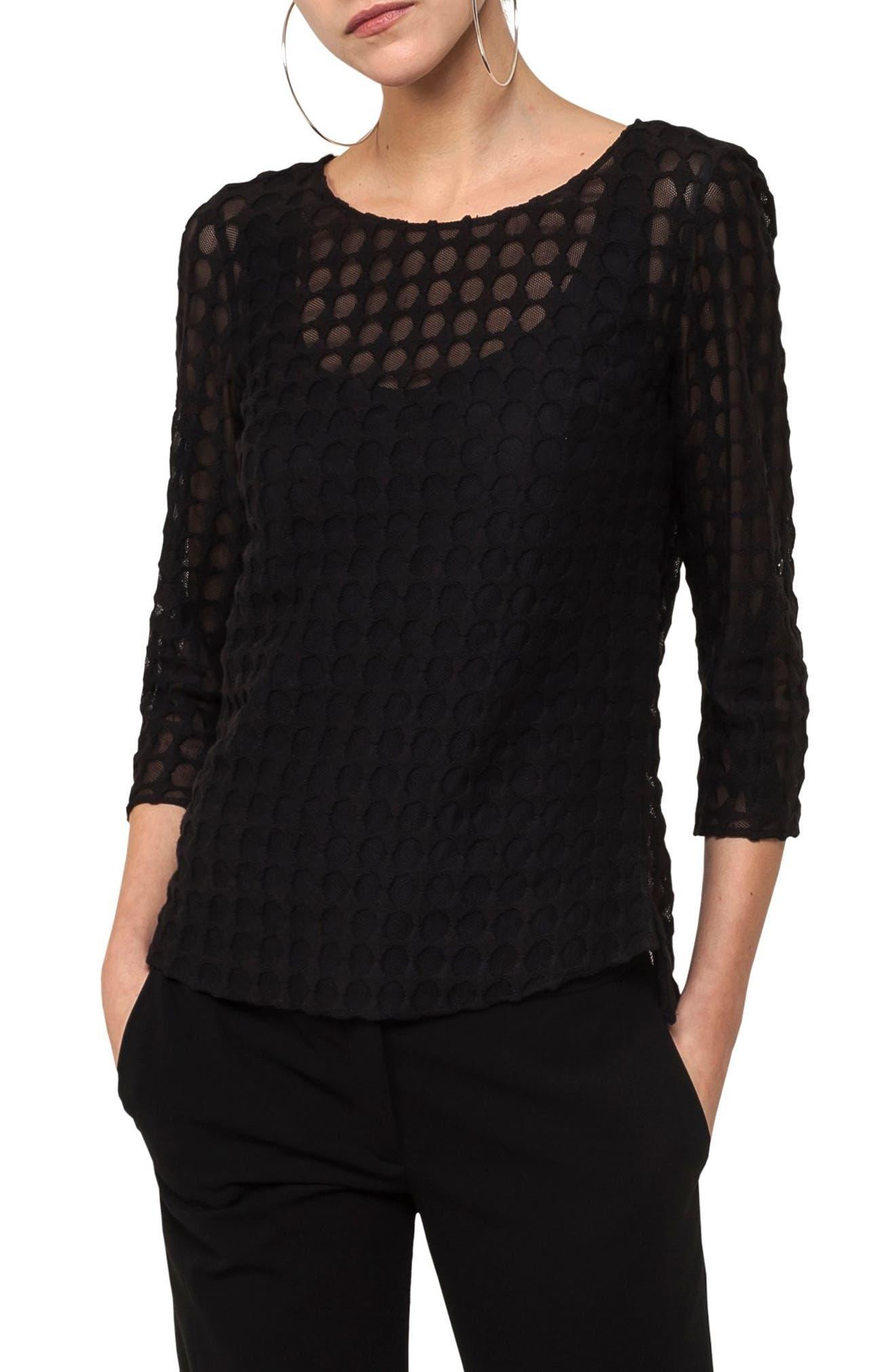 Dot Lace Blouse,                         Main,                         color, Black