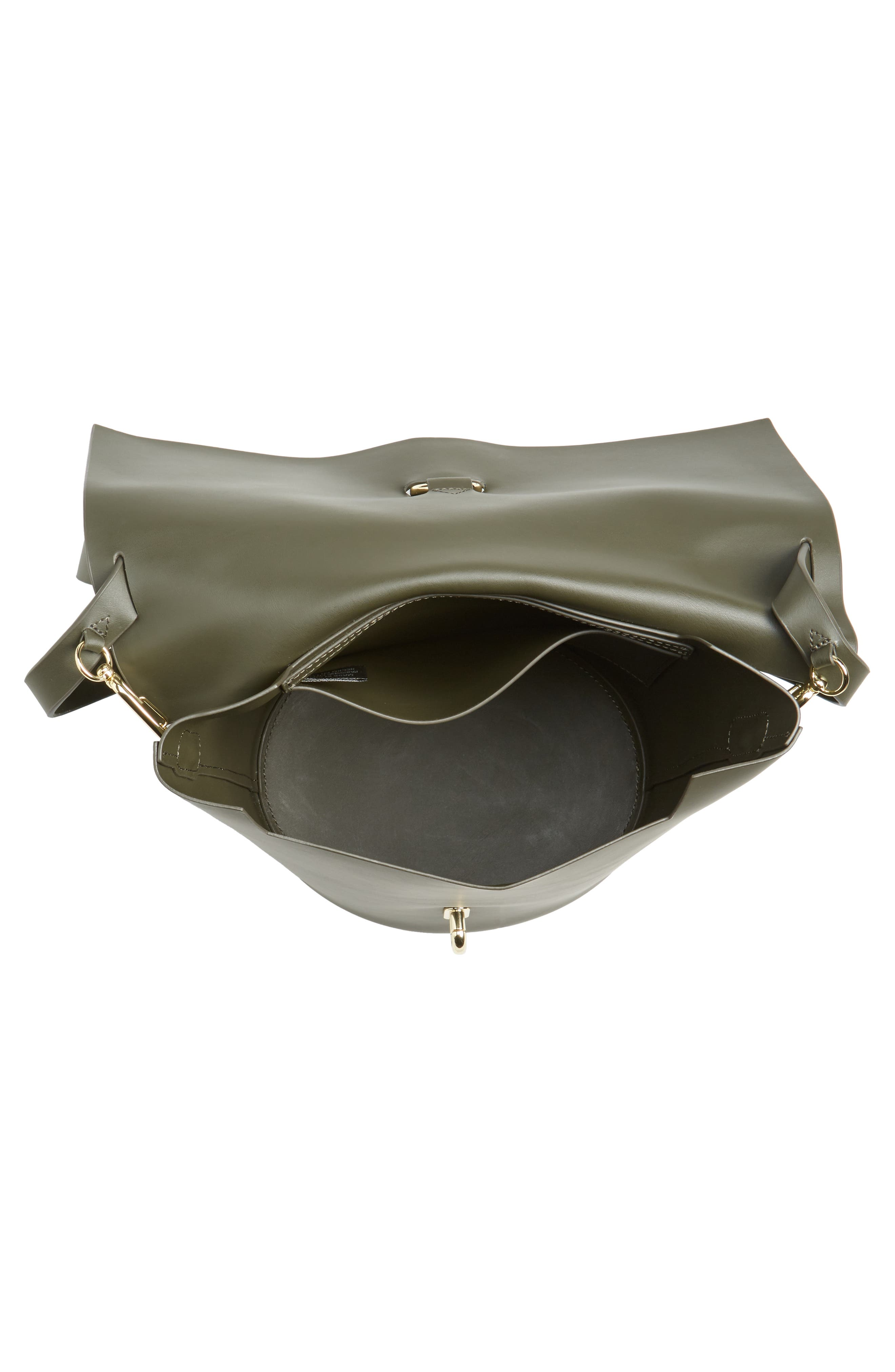Belay Leather Bucket Bag,                             Alternate thumbnail 4, color,                             Forest