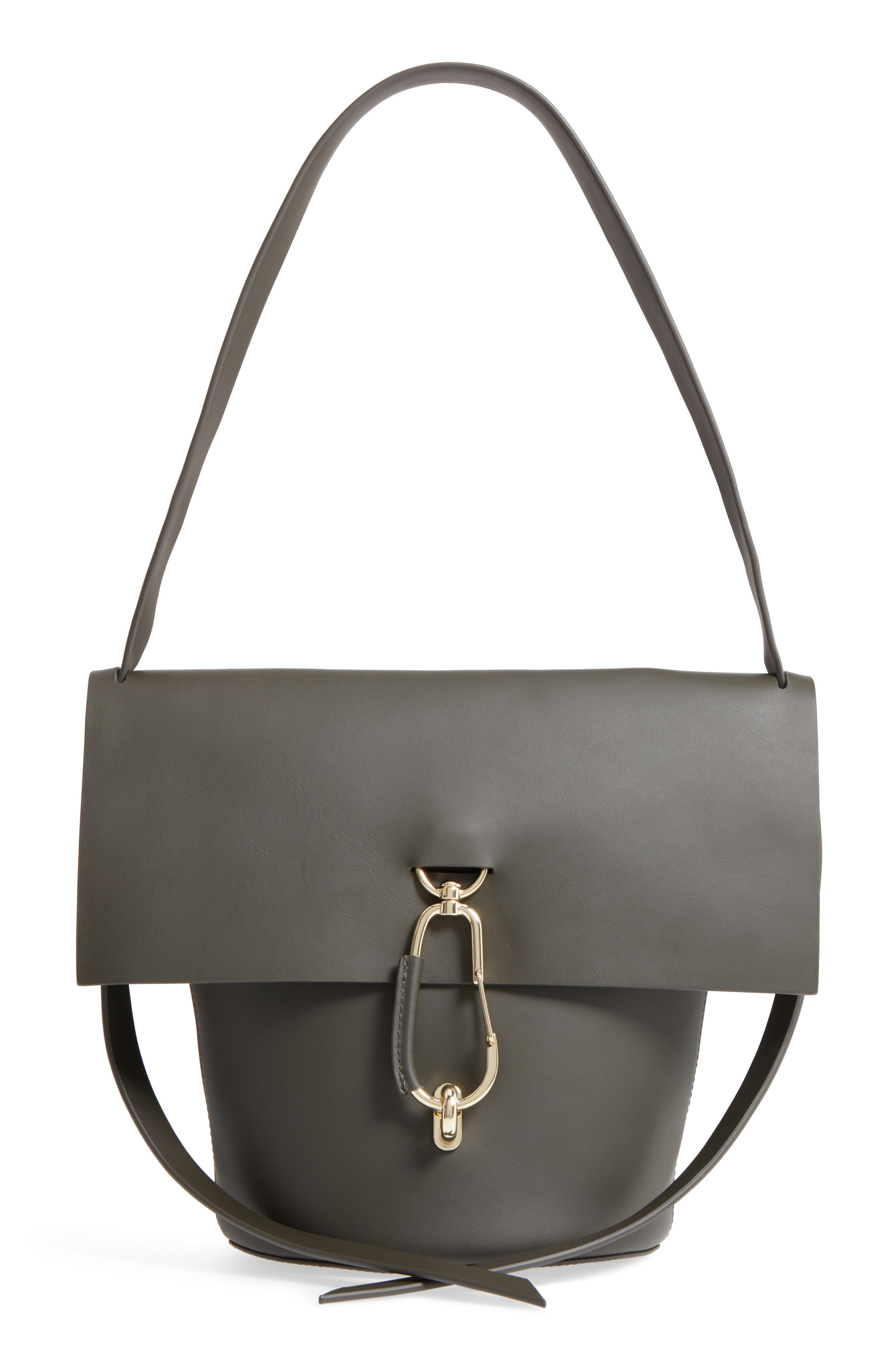Belay Leather Bucket Bag,                         Main,                         color, Forest