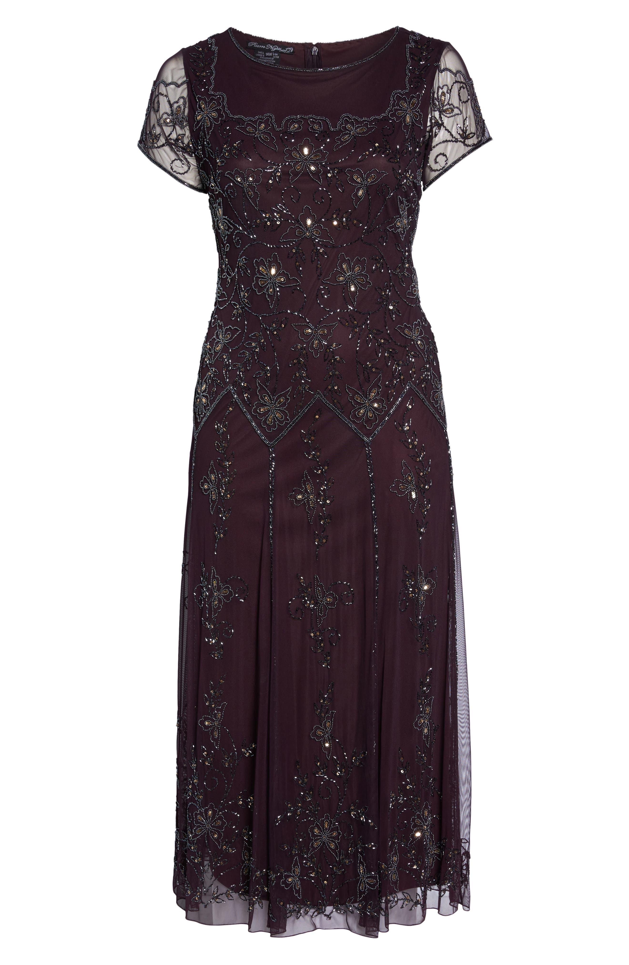 Alternate Image 6  - Pisarro Nights Embeelished Cap Sleeve Gown (Plus Size)
