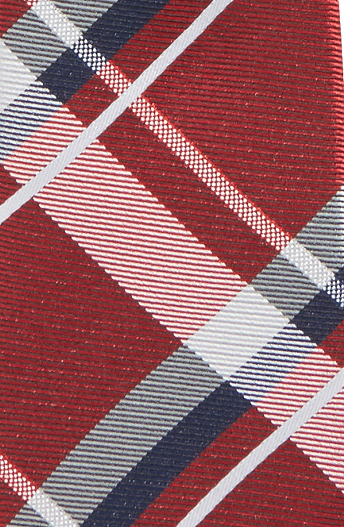 Plaid Silk Zip Tie,                             Alternate thumbnail 2, color,                             Red- Navy