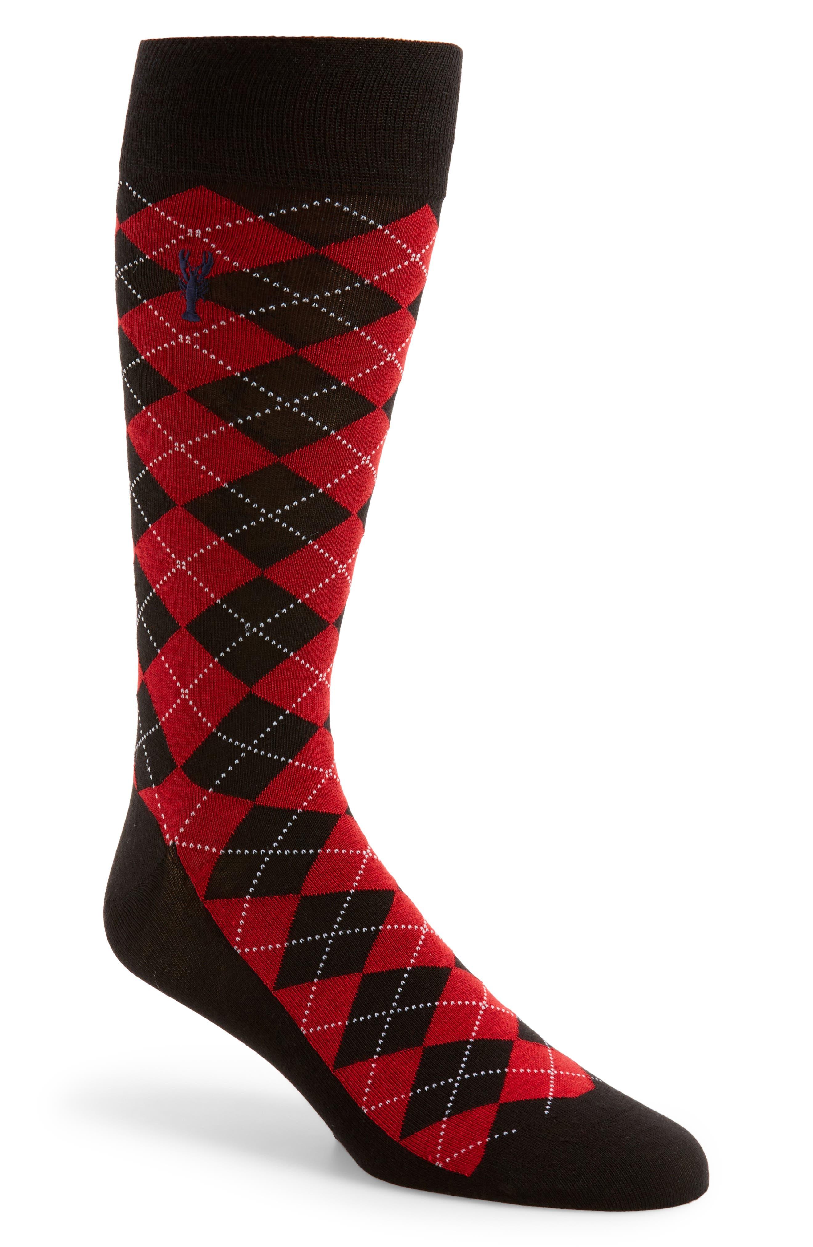 Pinch Argyle Socks,                         Main,                         color, Black/ Red