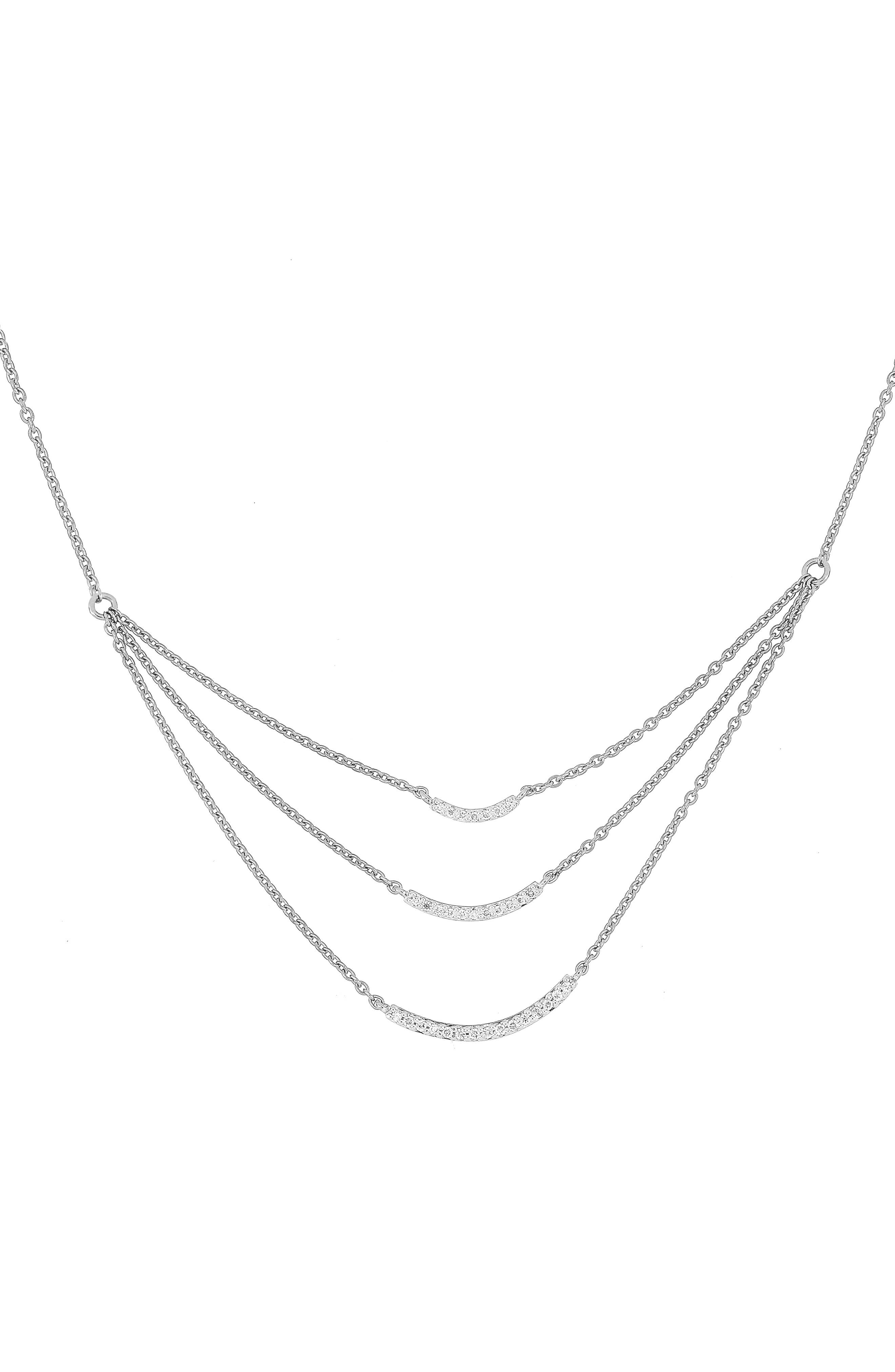 Diamond Layered Necklace,                             Main thumbnail 1, color,                             White Gold
