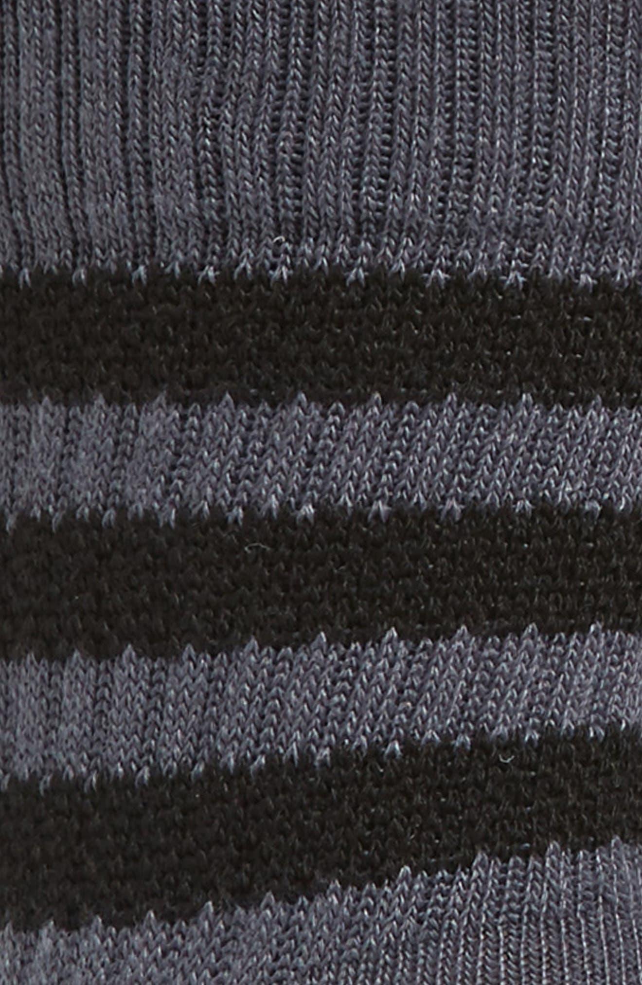 Textured 3-Stripes Crew Socks,                             Alternate thumbnail 2, color,                             Onyx/ Black