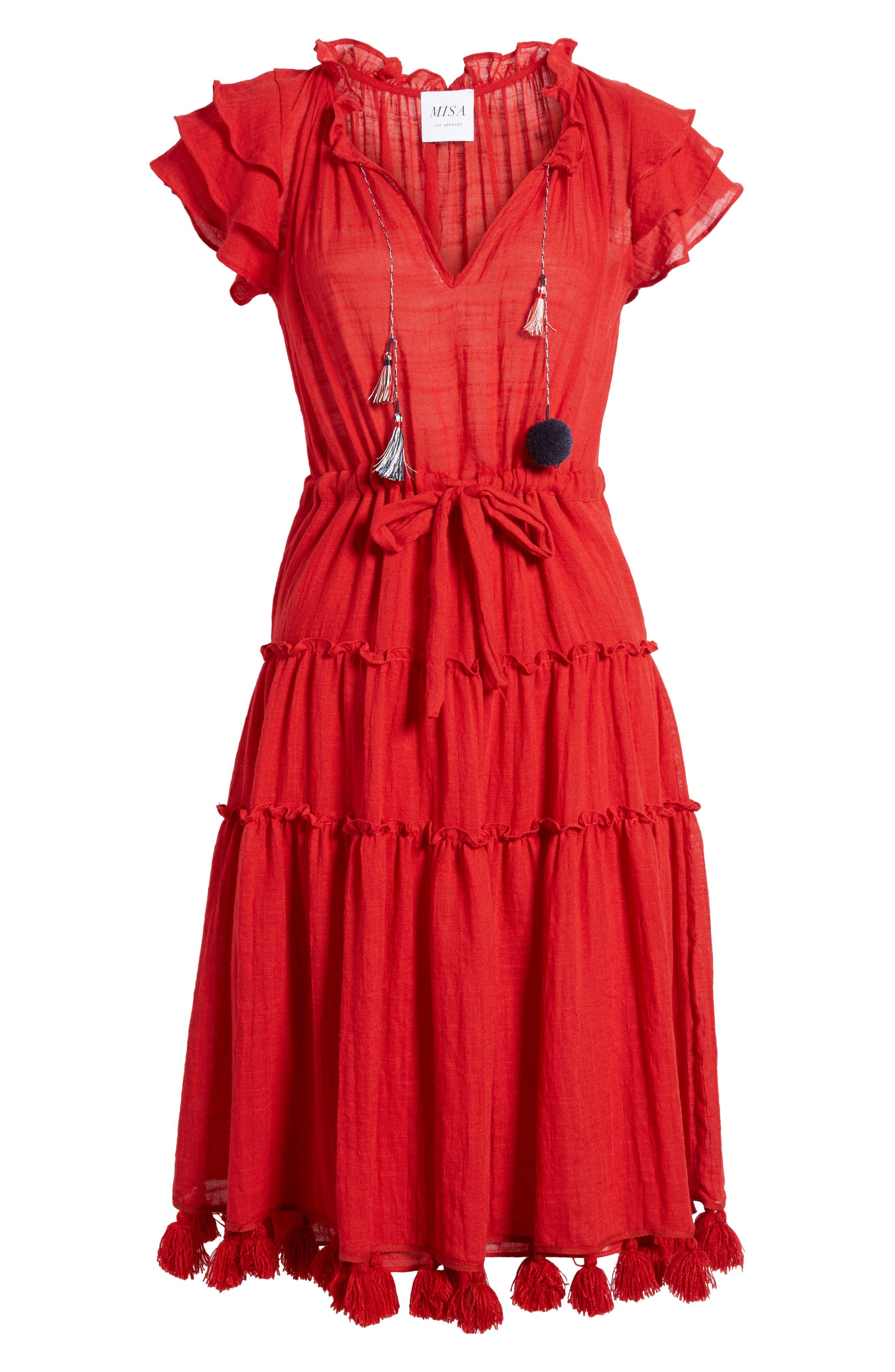 Roza Midi Dress,                             Alternate thumbnail 6, color,                             Scarlet
