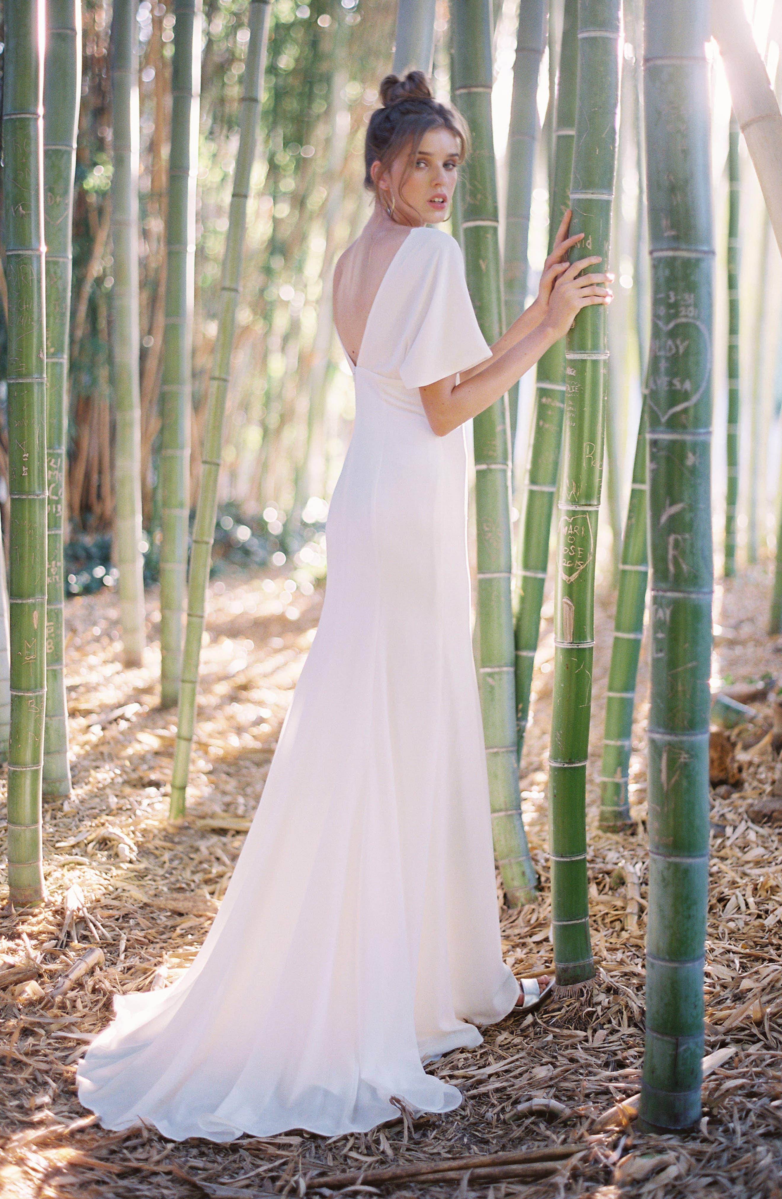 Empire Waist Crepe Gown,                             Alternate thumbnail 7, color,                             White