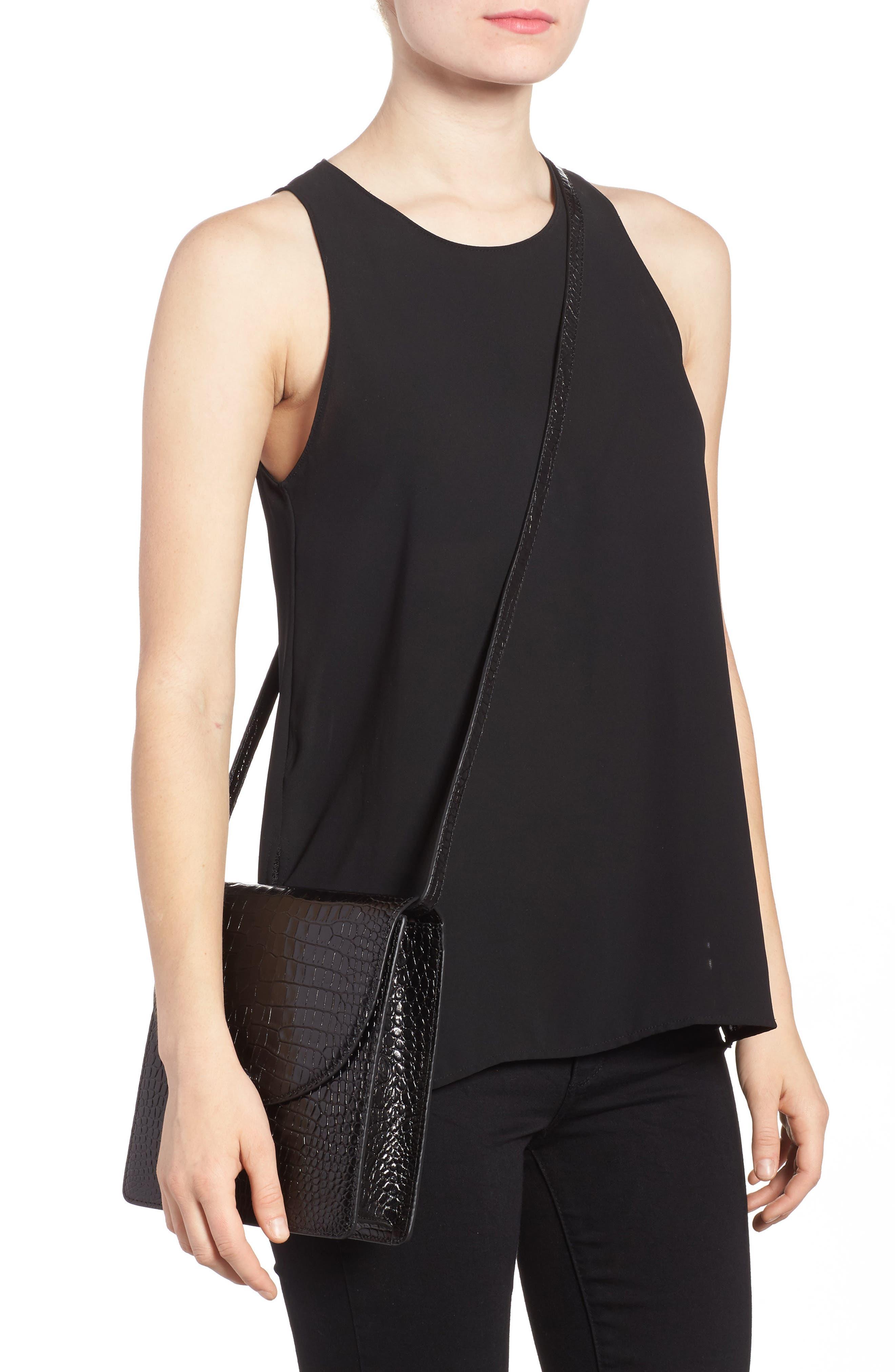 Eloise Leather Crossbody Bag,                             Alternate thumbnail 2, color,                             Black
