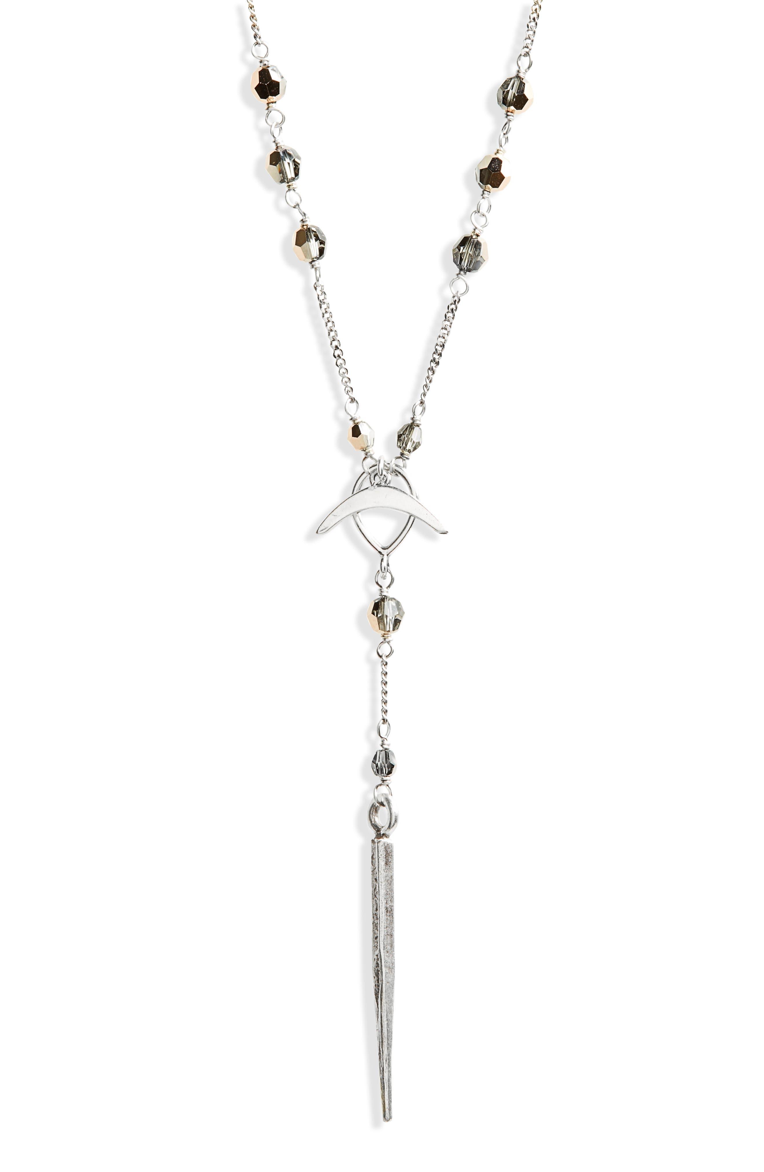 Swarovski Crystal Dagger Y-Necklace,                             Alternate thumbnail 2, color,                             Rose Gold