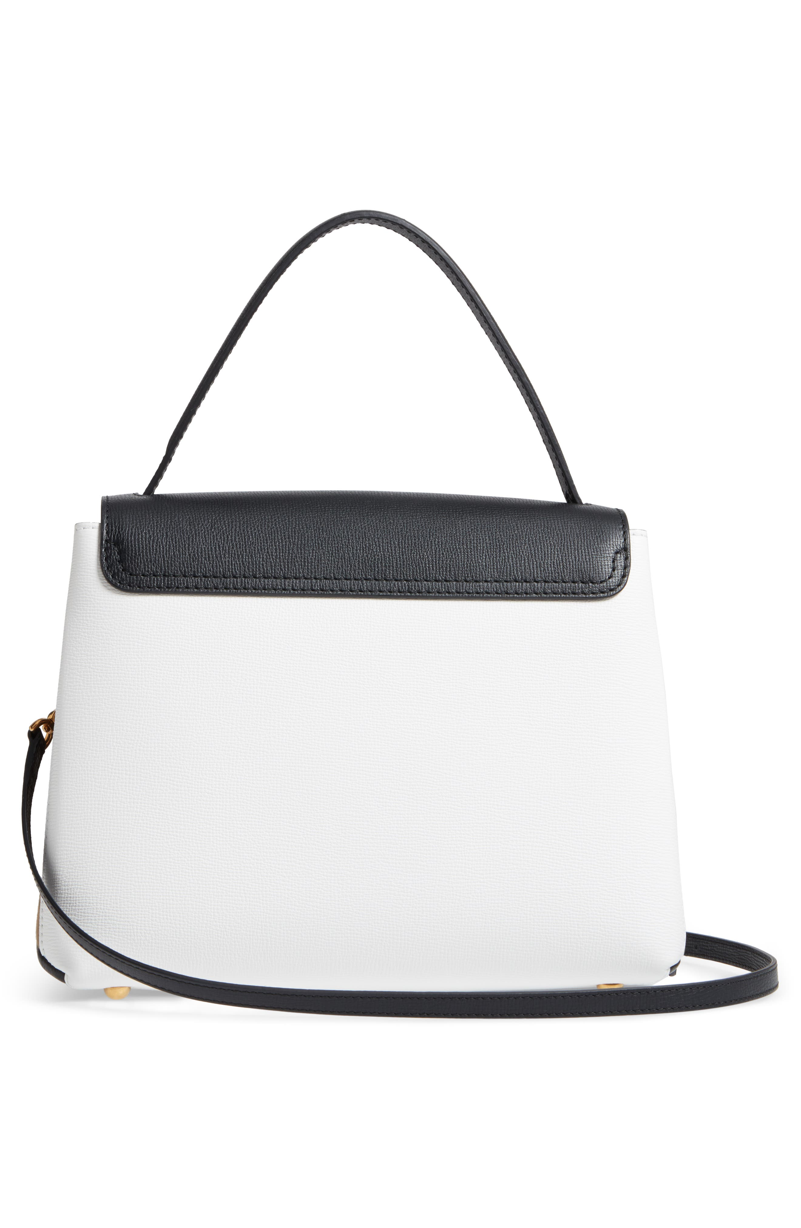 Medium Camberley Colorblock Leather & House Check Top Handle Satchel,                             Alternate thumbnail 3, color,                             White/ Black
