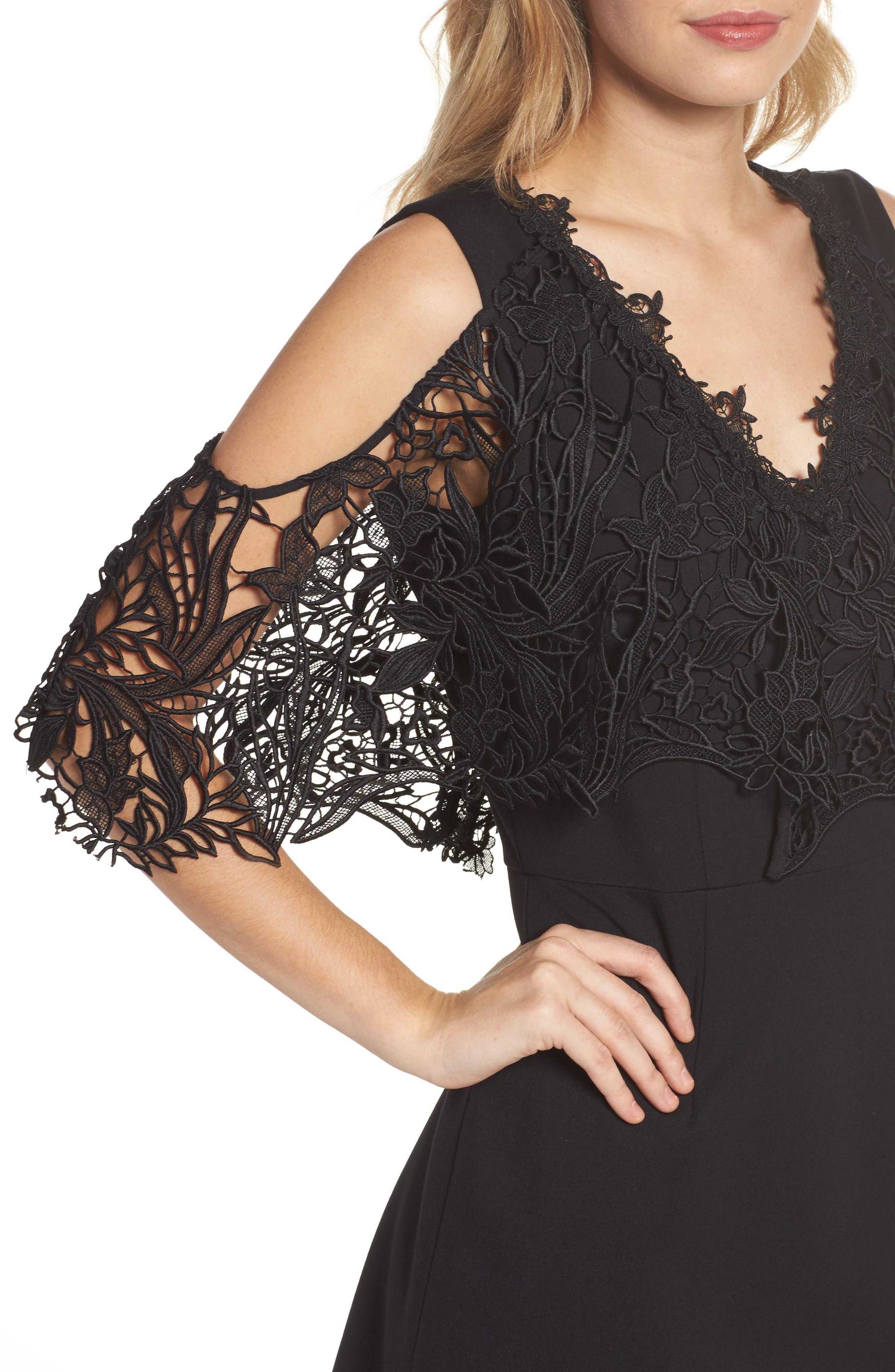 Kena Cold Shoulder Sheath Dress,                             Alternate thumbnail 4, color,                             Black