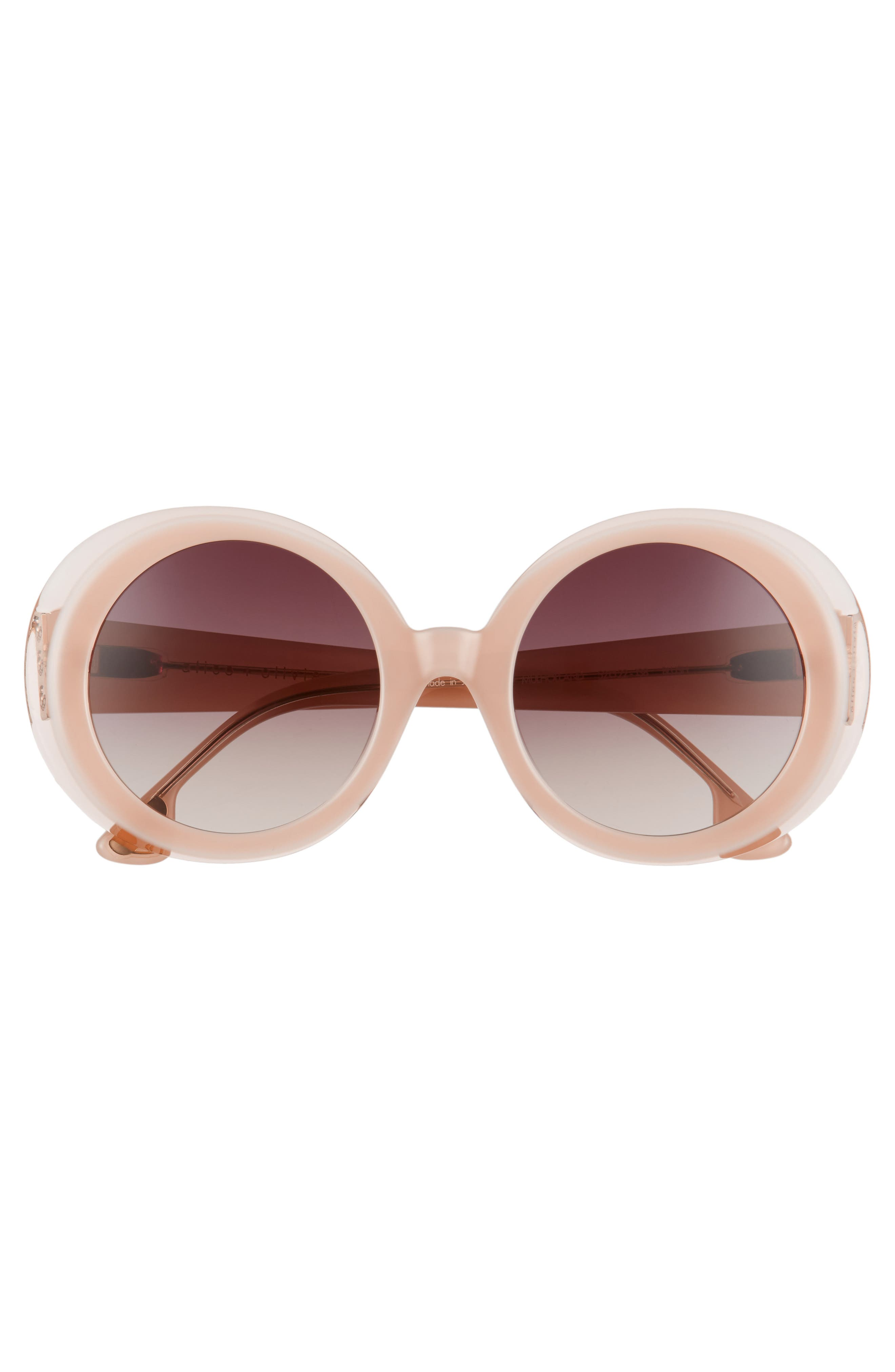 Mulholland 52mm Round Gradient Sunglasses,                             Alternate thumbnail 3, color,                             Blush