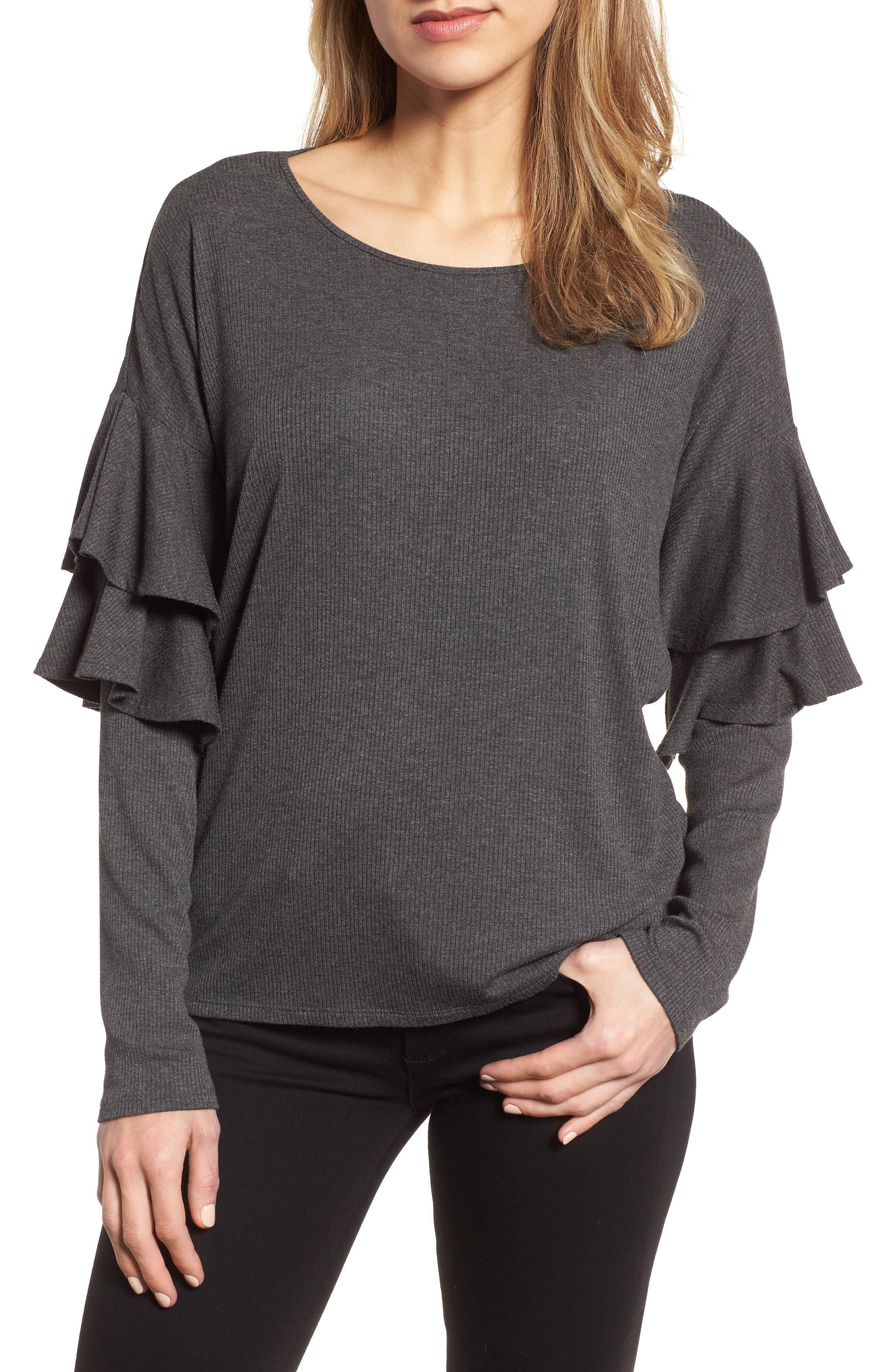 Tiered Ruffled Shoulder Ribbed Top,                         Main,                         color, Medium Heather Grey
