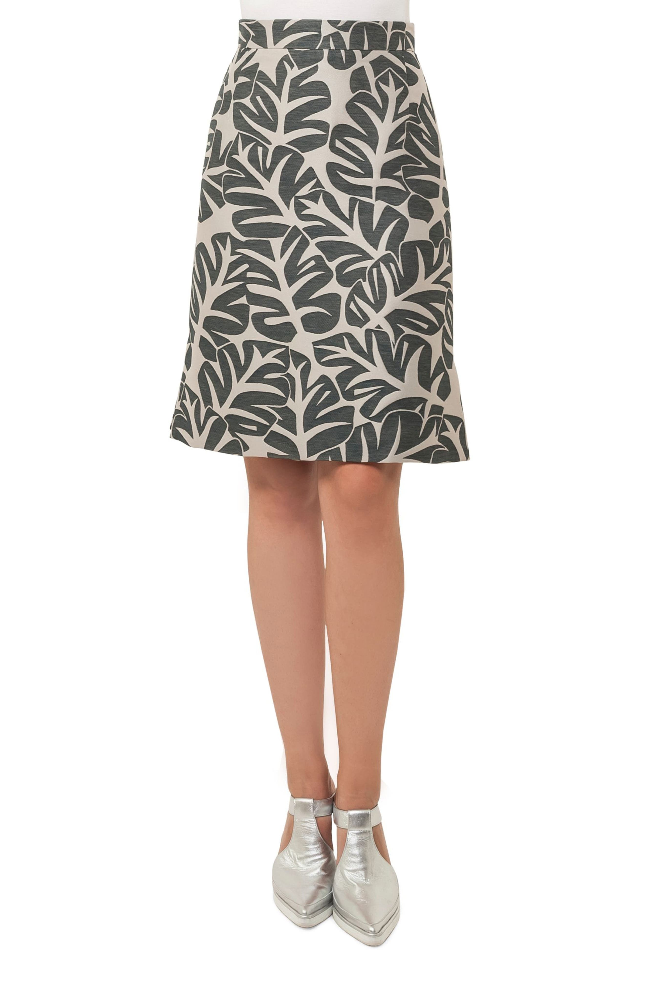 Tropical Leaf Pattern A-Line Skirt,                             Main thumbnail 1, color,                             Sand / Avocado