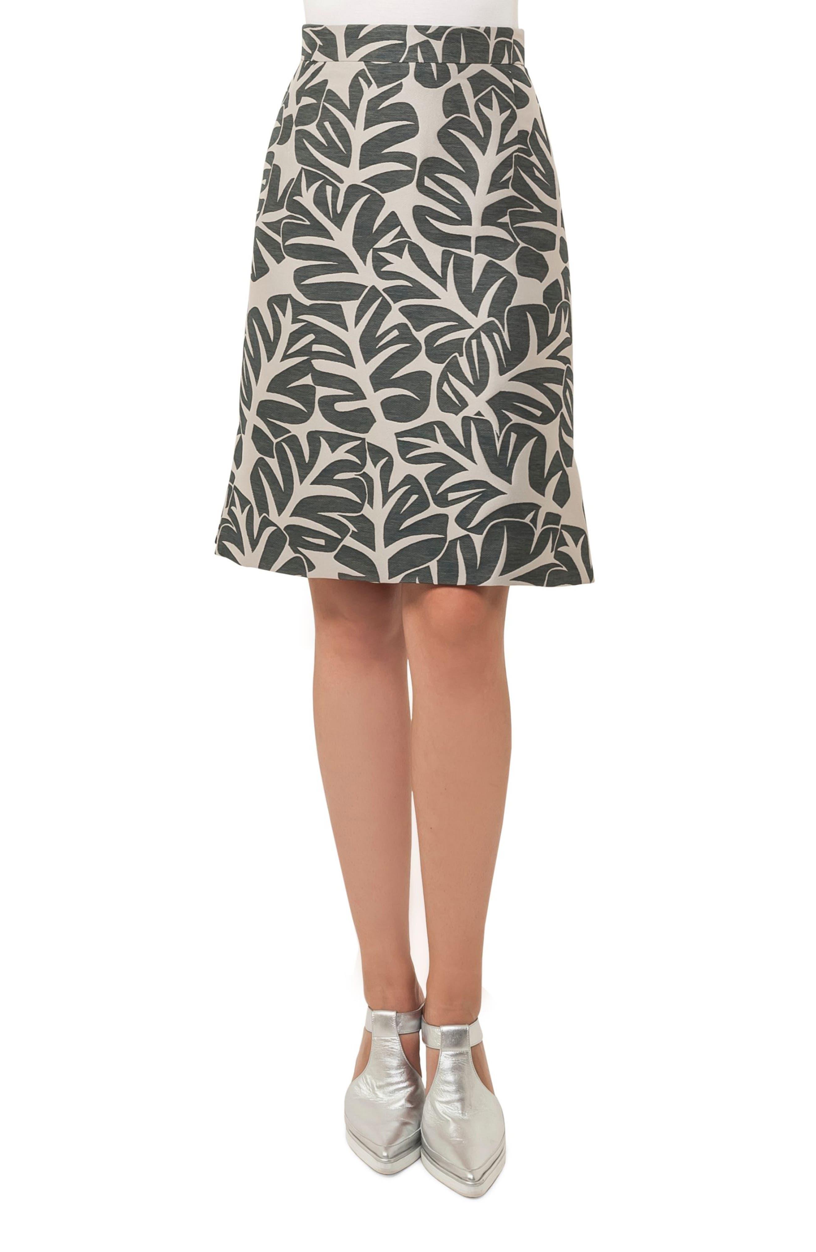 Tropical Leaf Pattern A-Line Skirt,                         Main,                         color, Sand / Avocado
