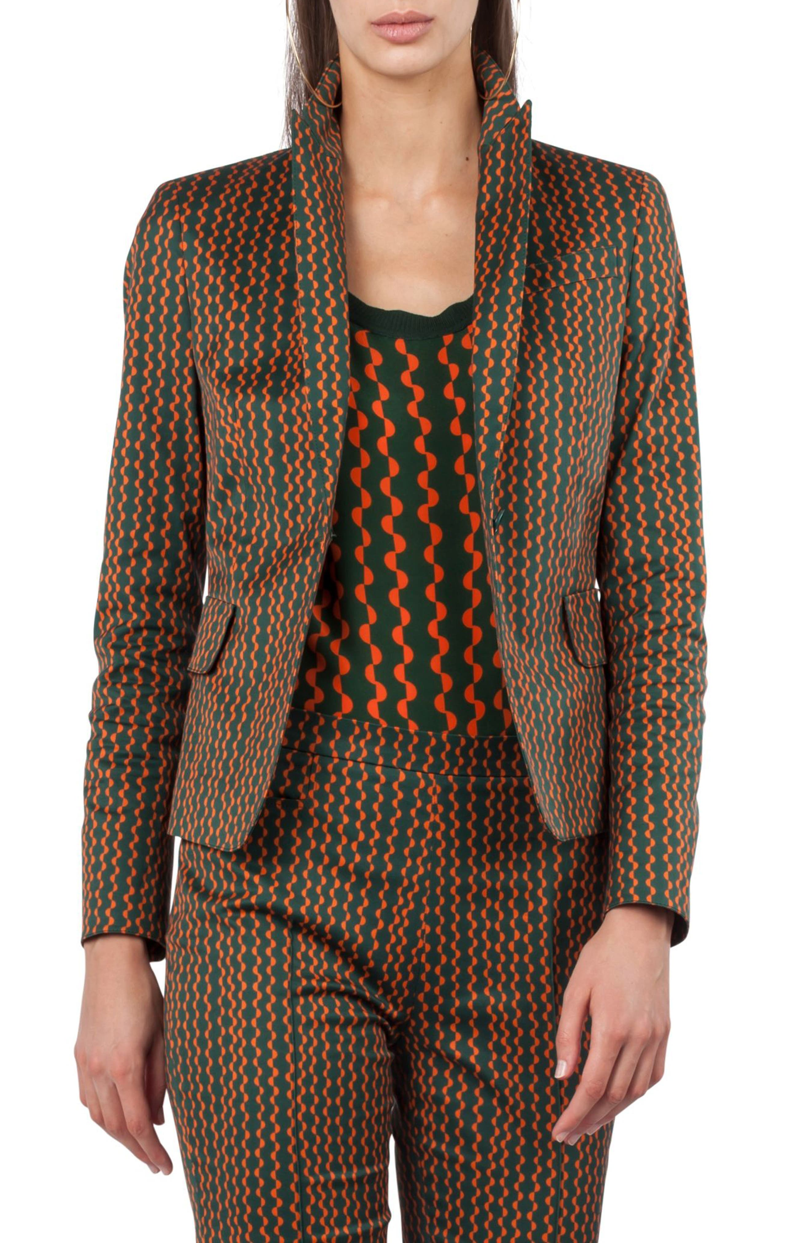 Print Stretch Cotton Blazer,                             Alternate thumbnail 3, color,                             Palm Leaf / Papaya