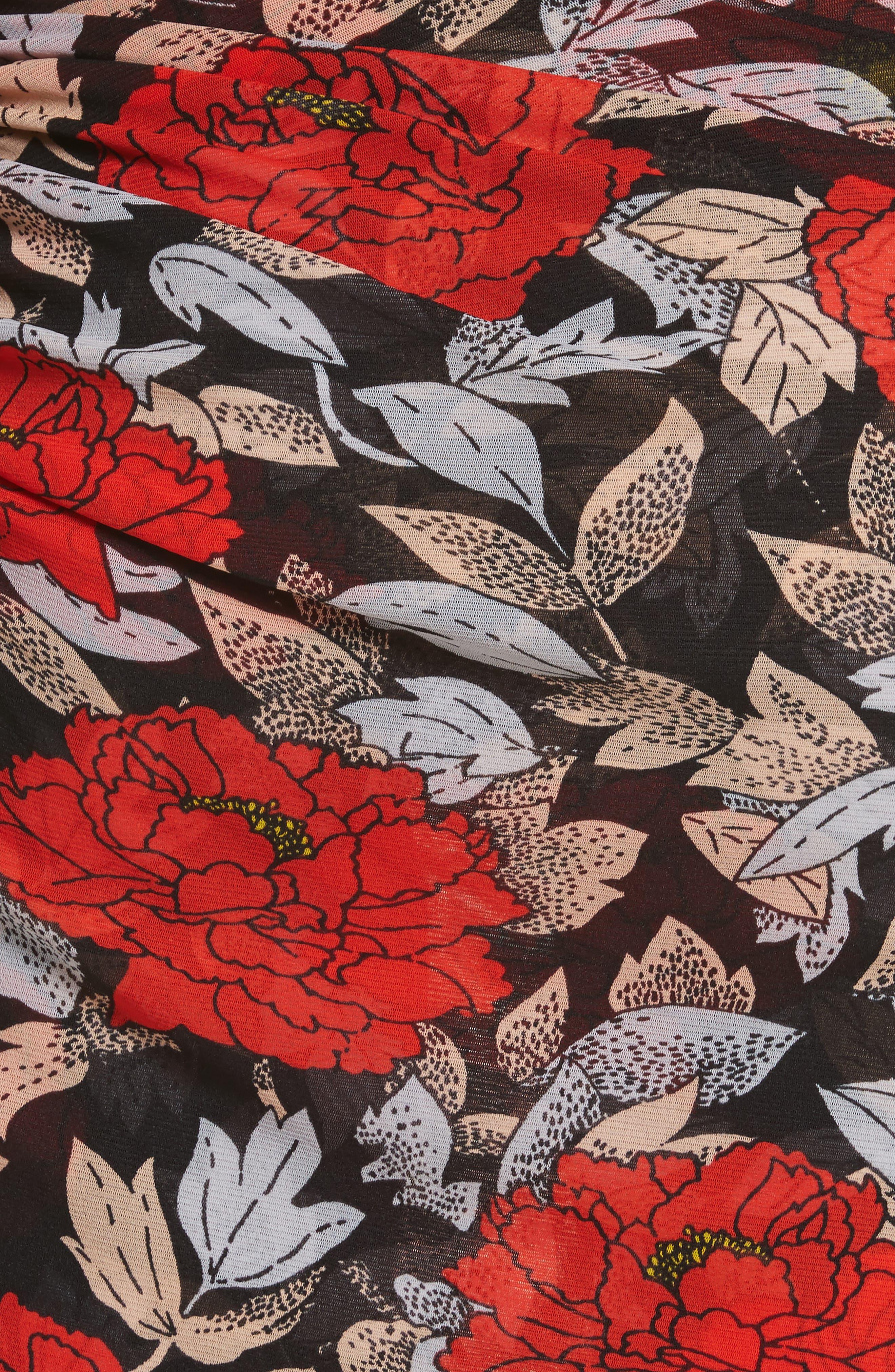 Diane von Furstenberg Ruched One-Shoulder Dress,                             Alternate thumbnail 5, color,                             Boswell Black