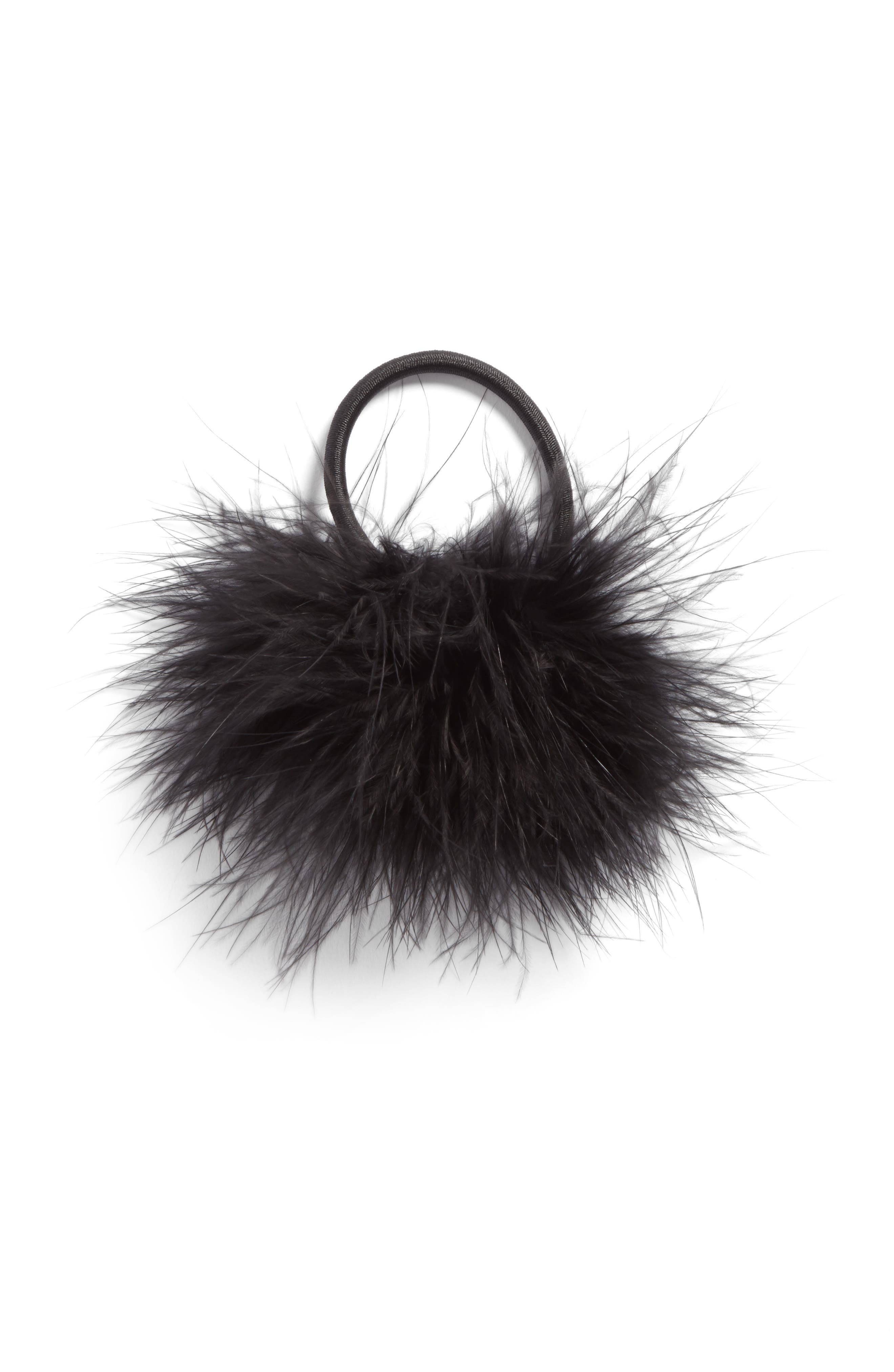 Main Image - Berry Feather Pompom Ponytail Holder