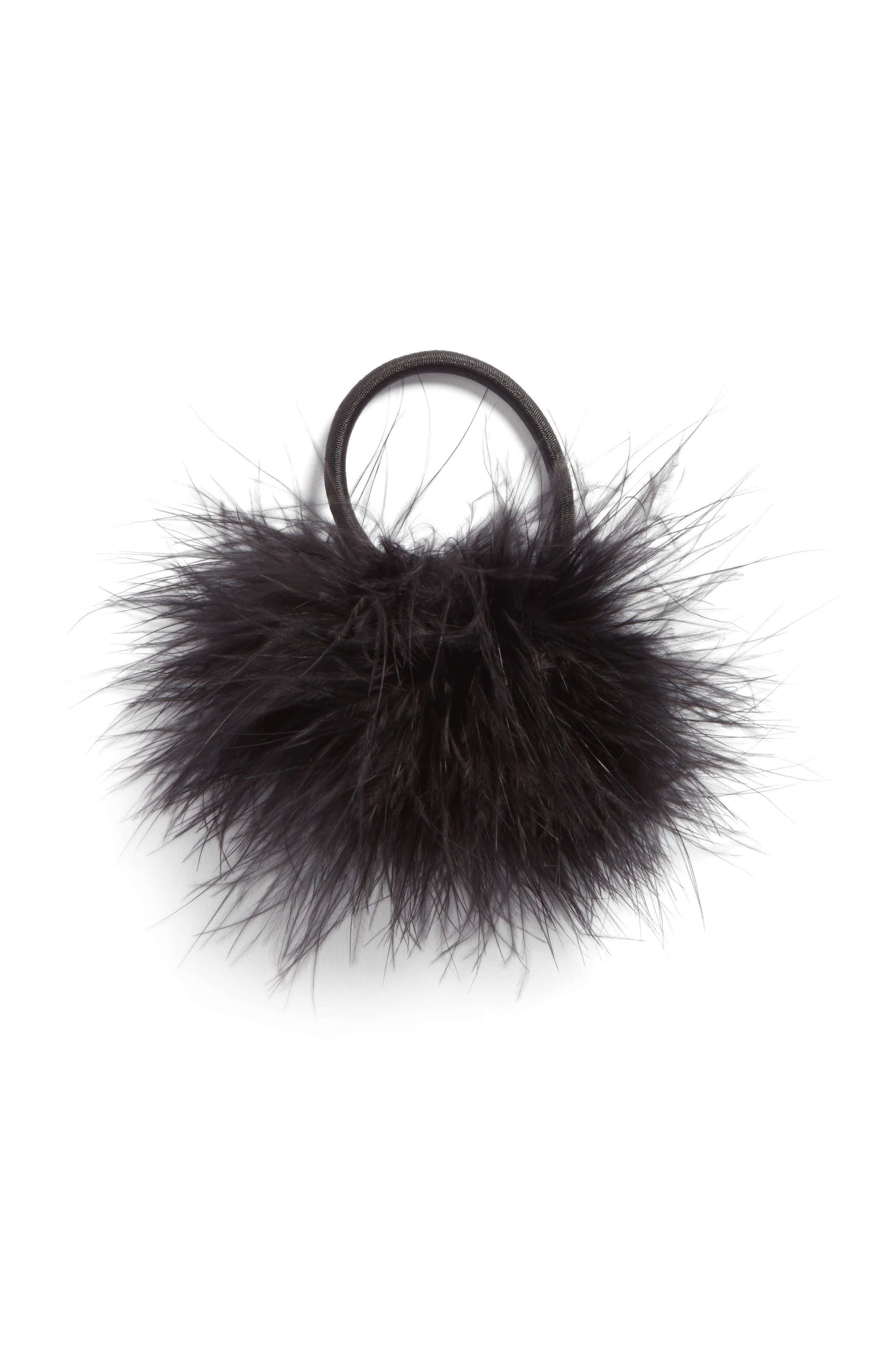 Feather Pompom Ponytail Holder,                         Main,                         color, Black