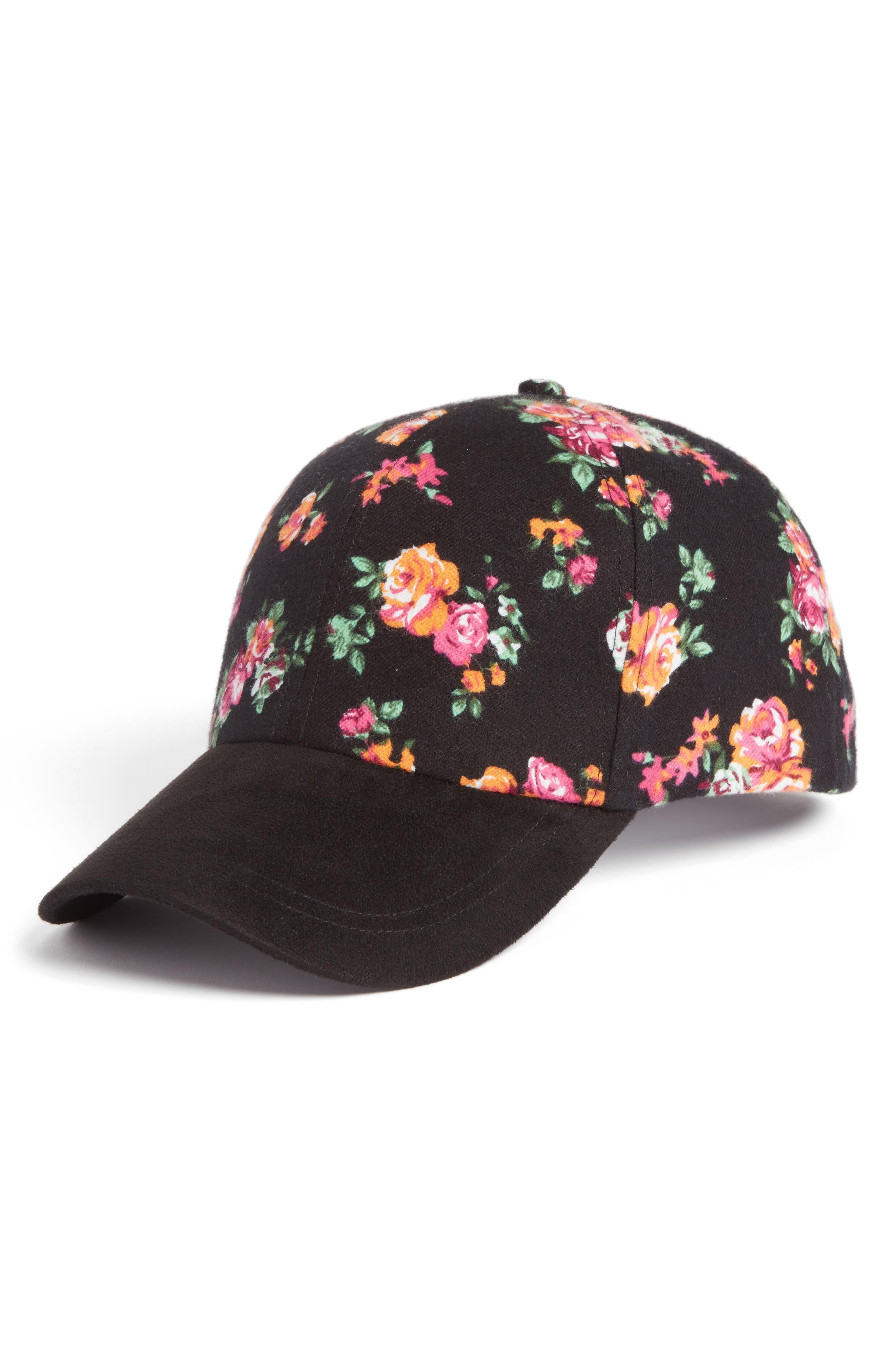 Floral Baseball Cap,                         Main,                         color, Black