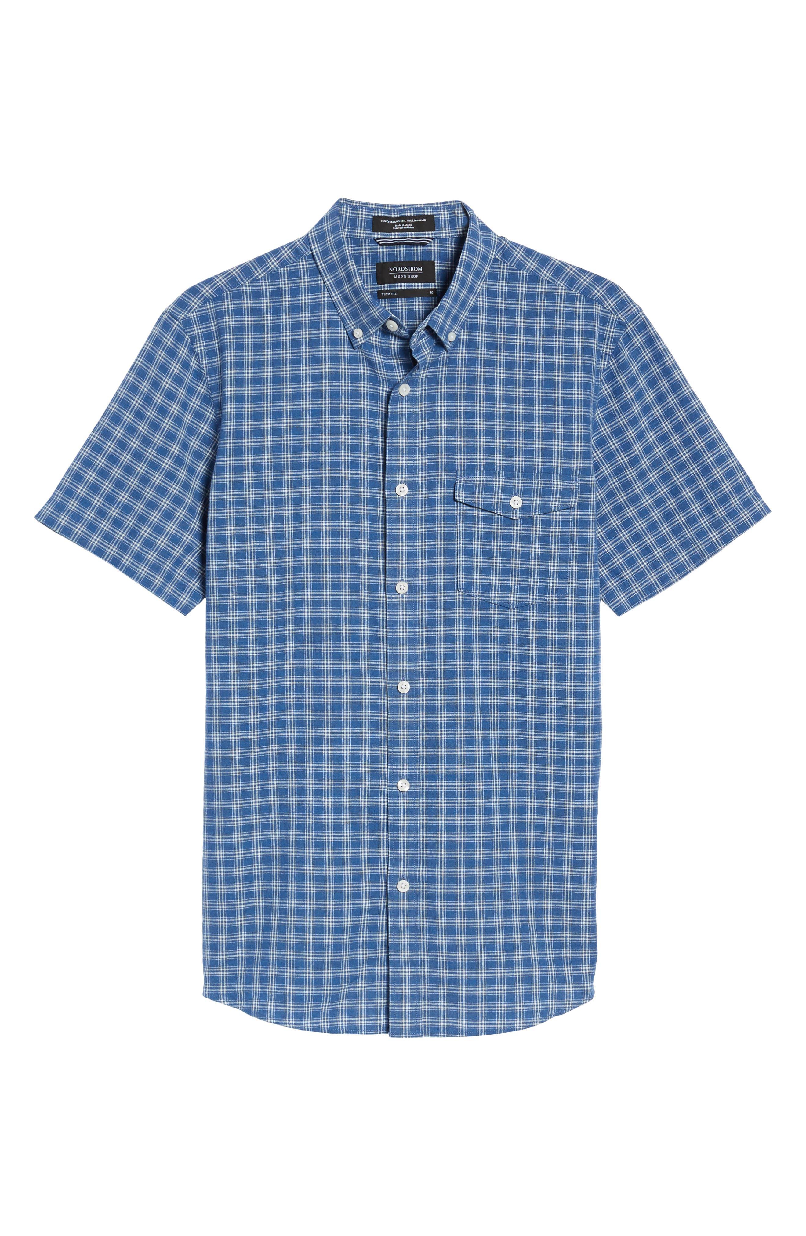 Ivy Trim Fit Check Sport Shirt,                             Alternate thumbnail 6, color,                             Blue Indigo White Plaid