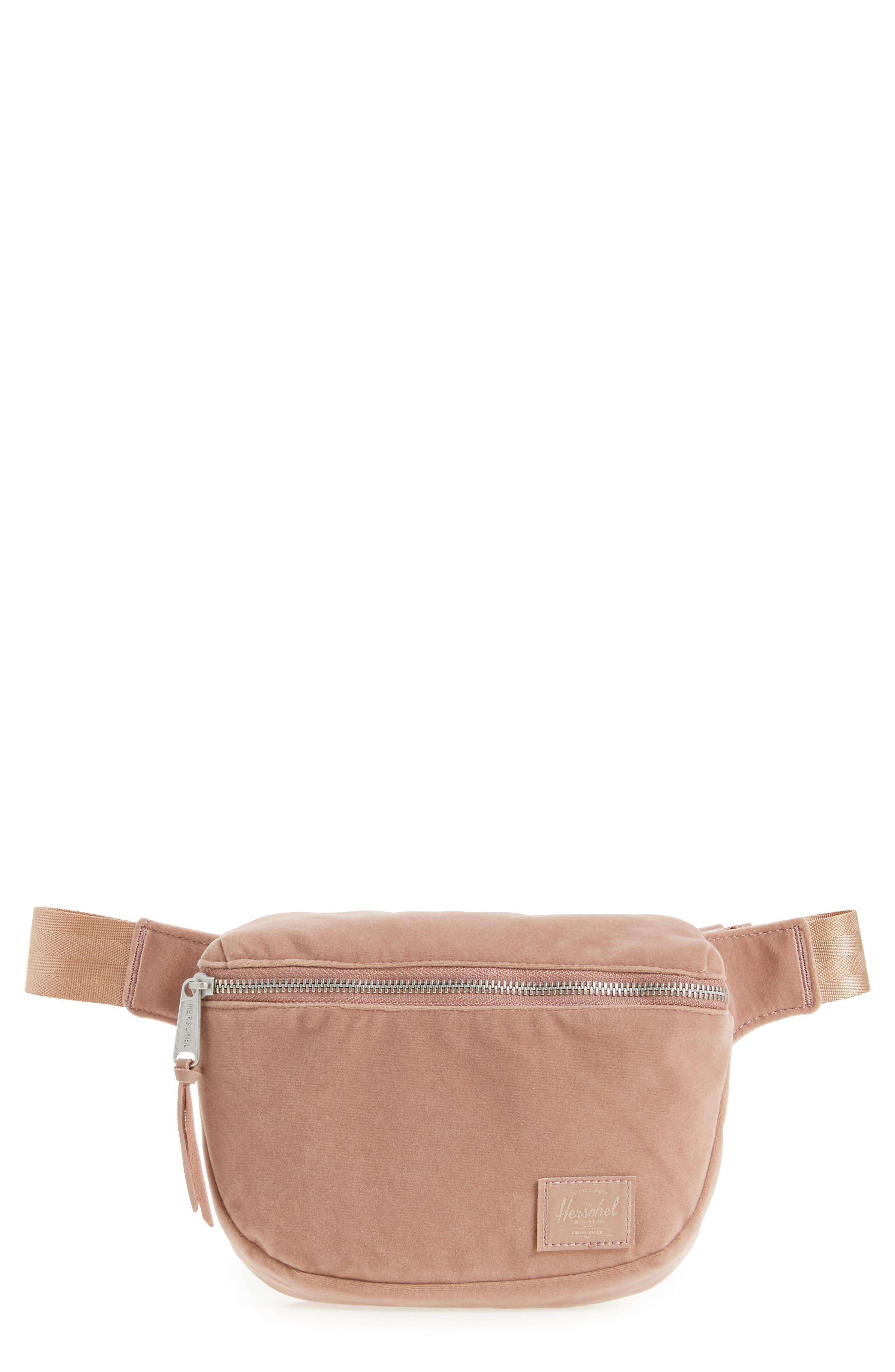 Fifteen Velvet Belt Bag,                         Main,                         color, Ash Rose
