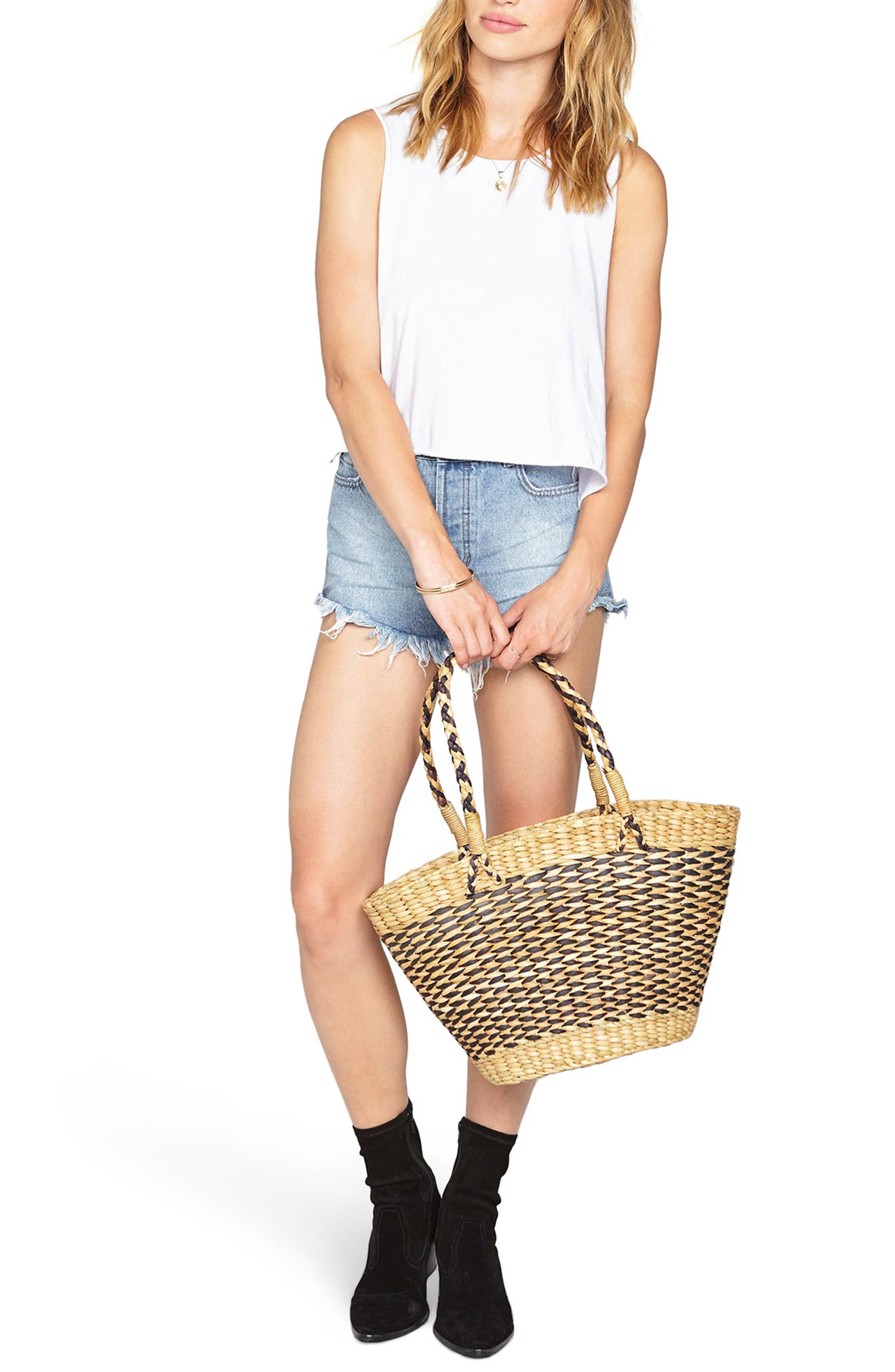 Goodie Basket Straw Tote,                             Alternate thumbnail 2, color,                             Stripe