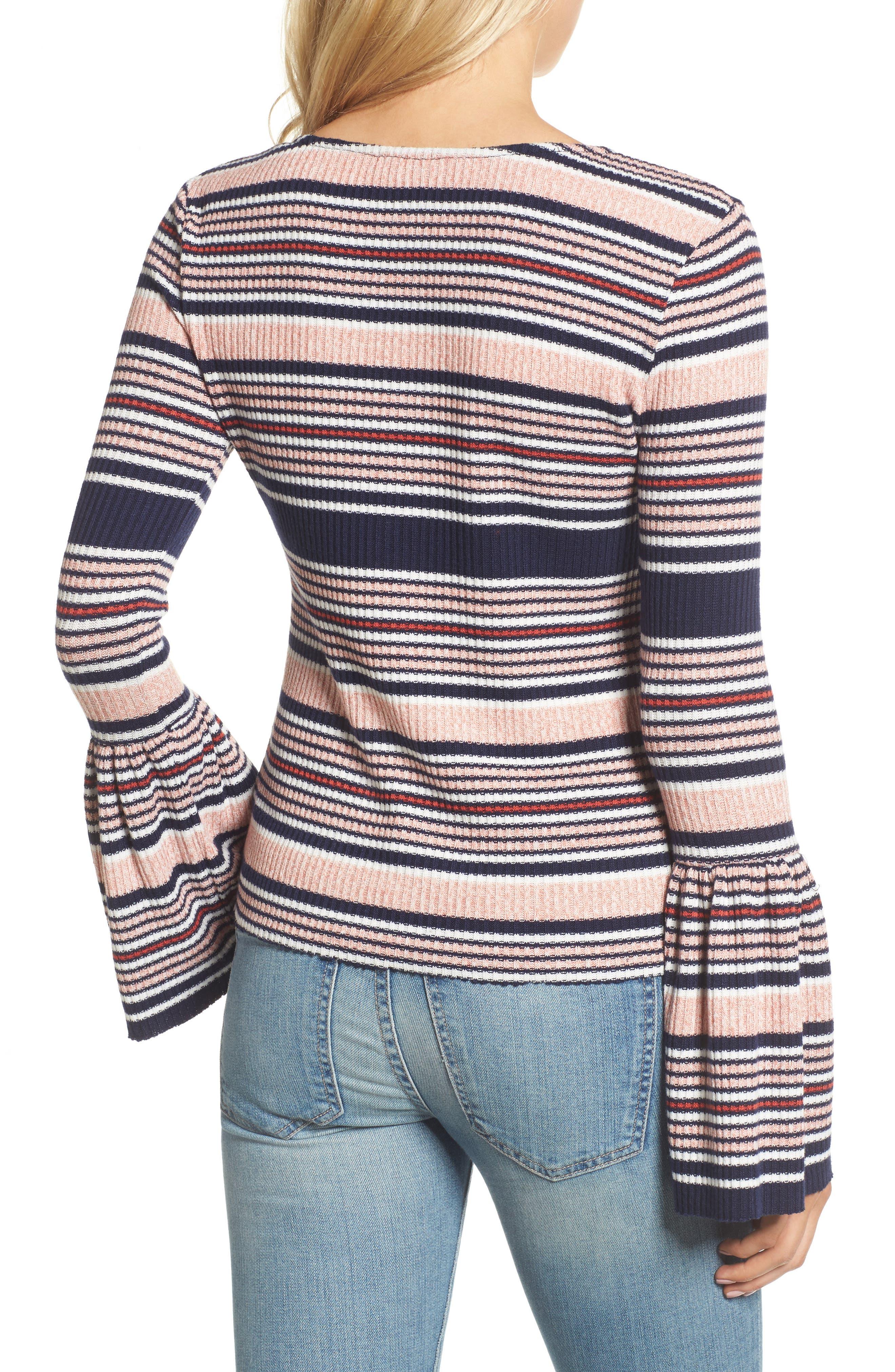 Stripe Bell Sleeve Tee,                             Alternate thumbnail 2, color,                             Multi