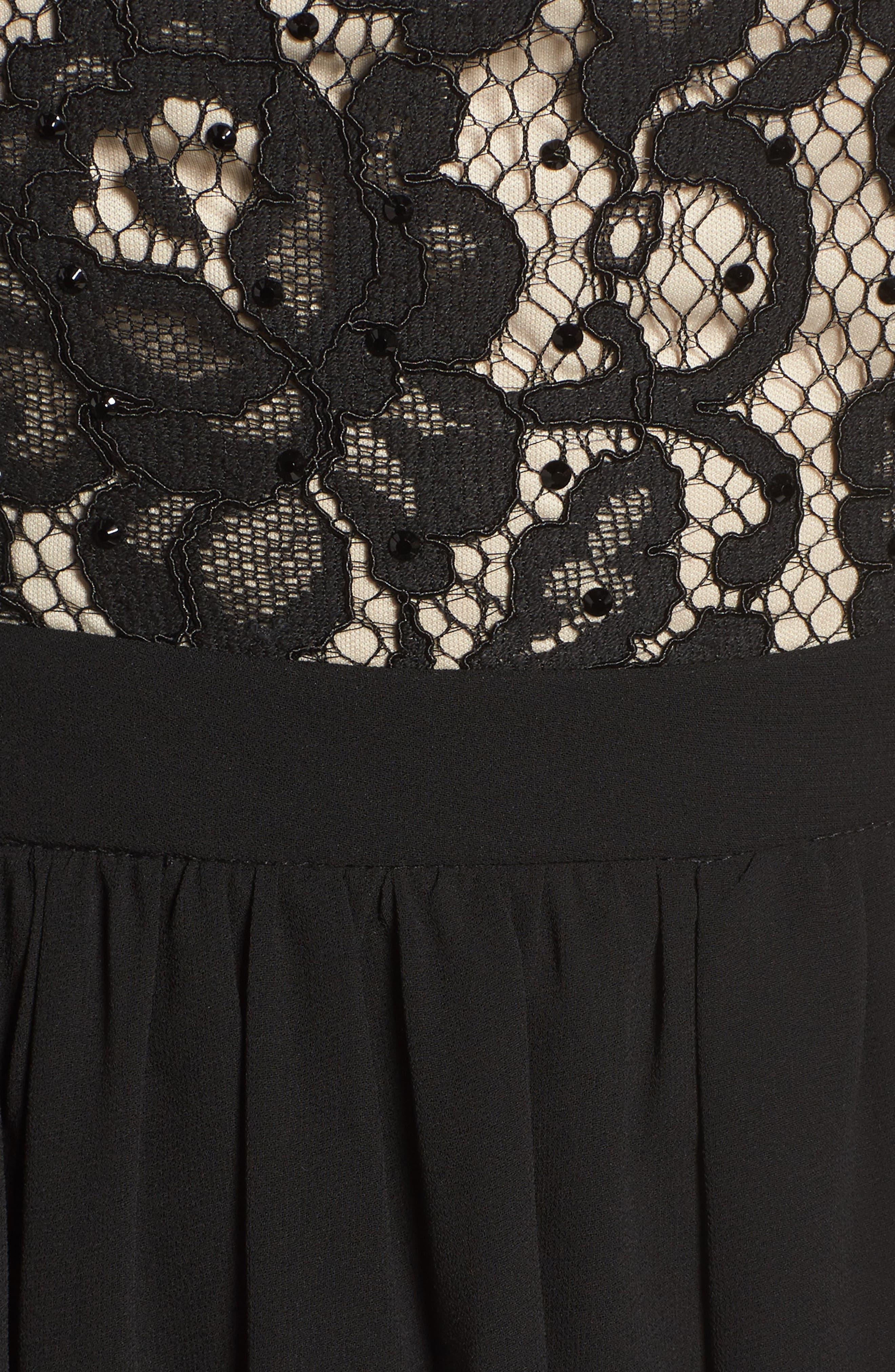 Sequin Lace & Chiffon Halter Gown,                             Alternate thumbnail 5, color,                             Black/ Nude