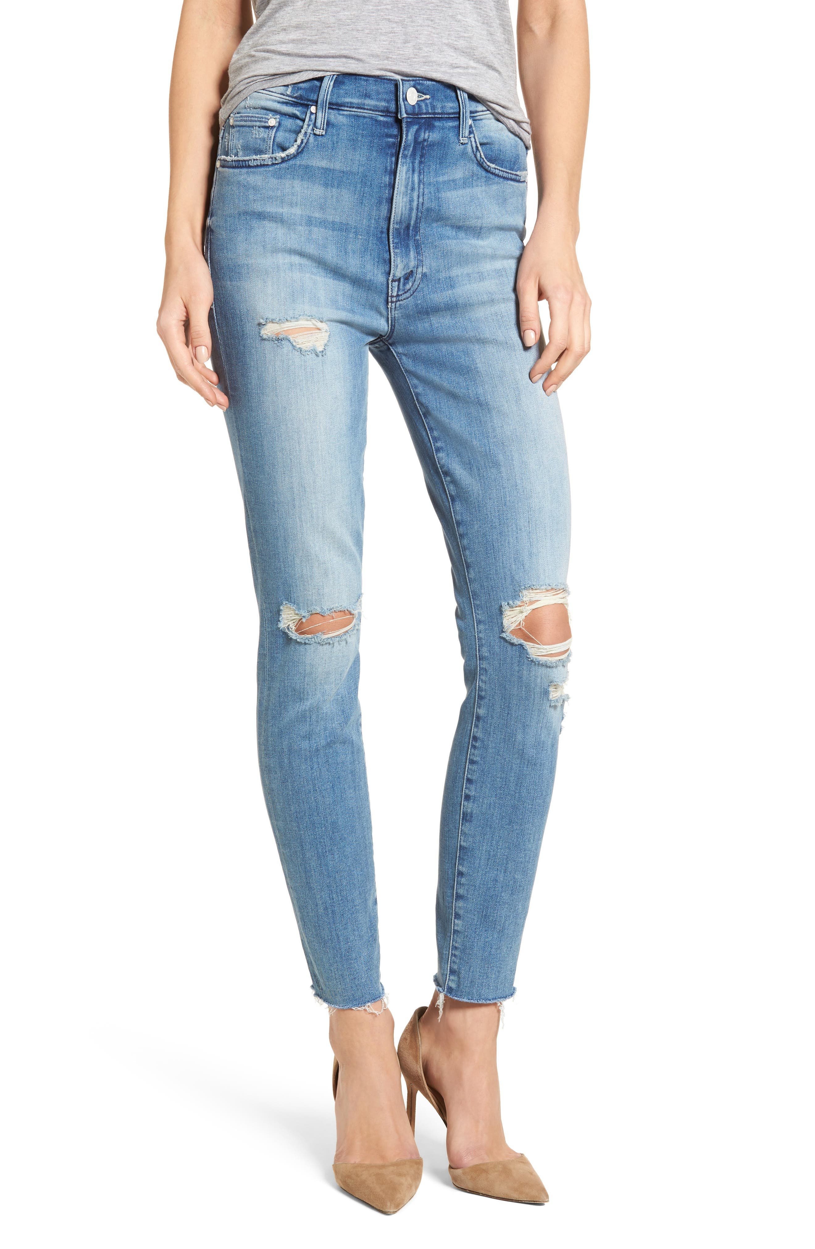MOTHER The Swooner High Waist Ankle Skinny Jeans (Losing Control)