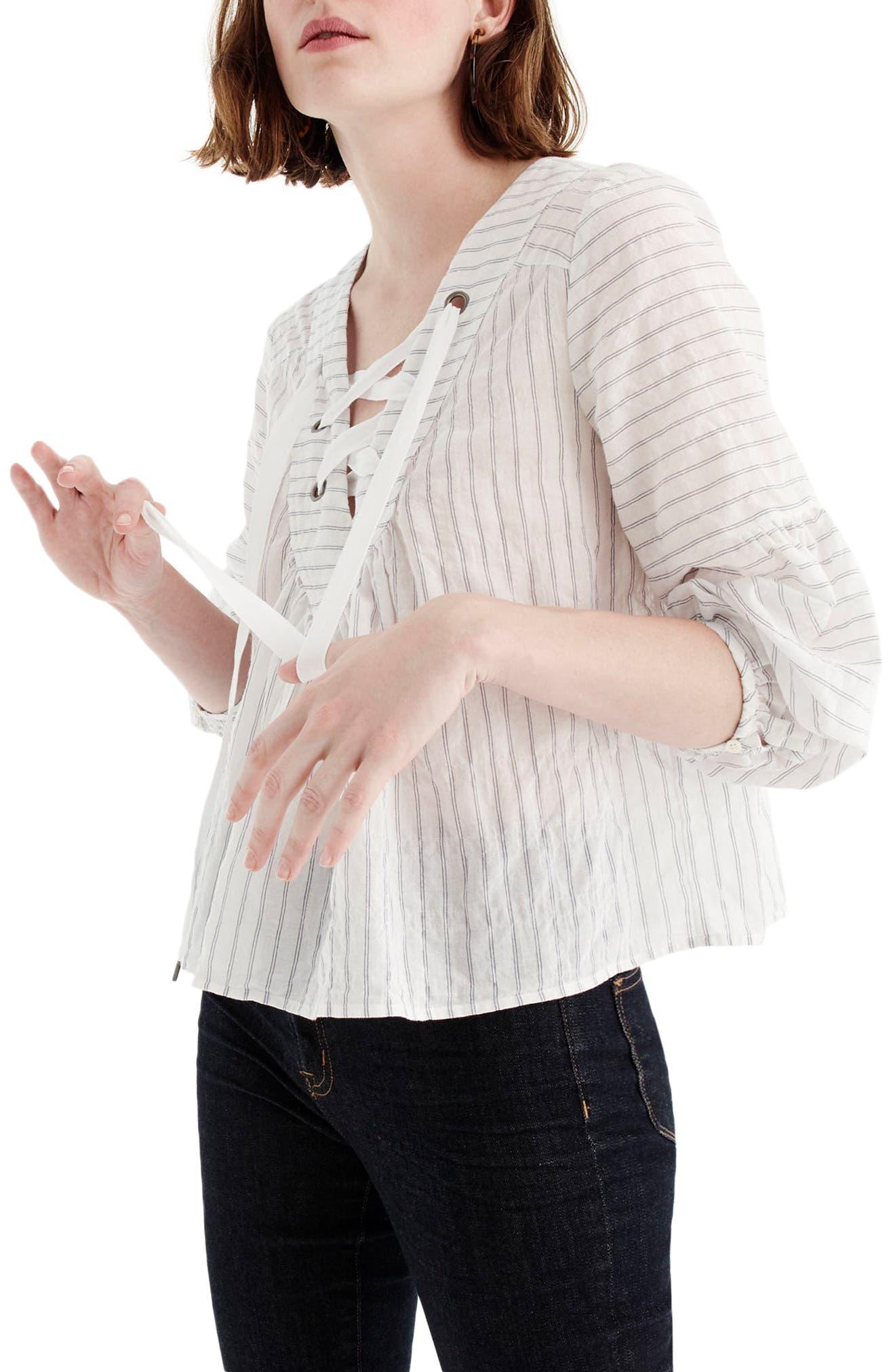 Lace-Up Stripe Cotton Top,                         Main,                         color, White/ Blue